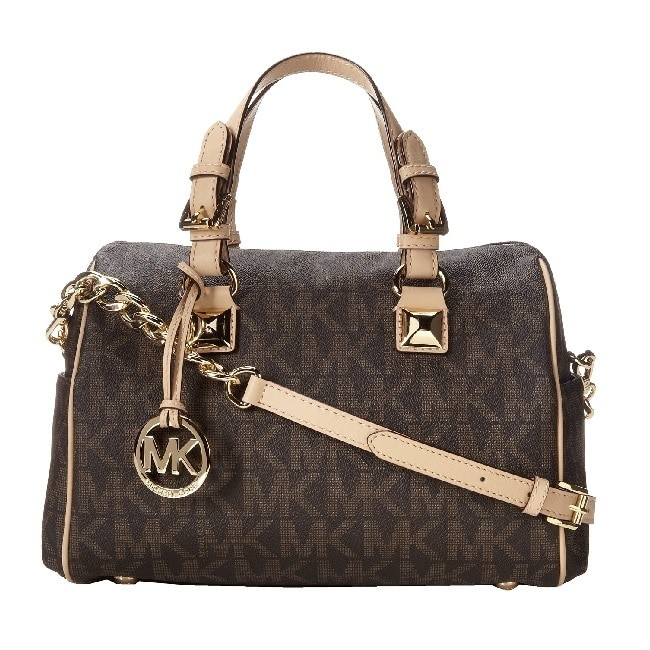 shop michael kors grayson signature medium chain logo satchel rh overstock com