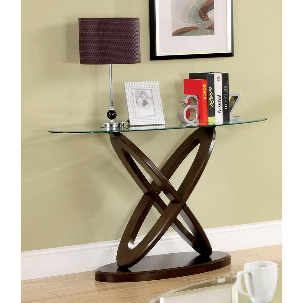 Furniture Of America Evalline Oval Glass Top Sofa Table Free  ~ Sofa Table With Glass Top