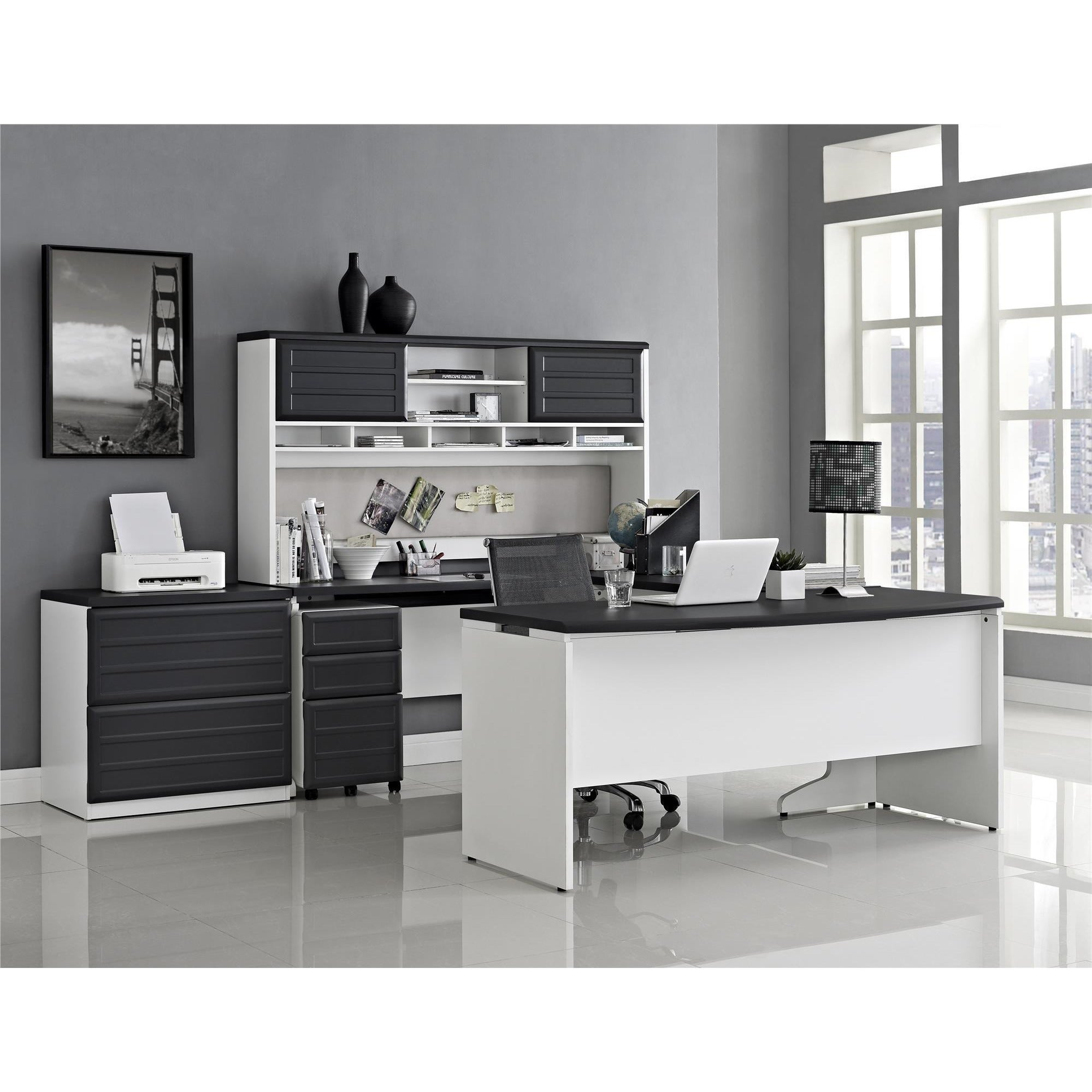 Ameriwood Home Pursuit White L Desk With Hutch Office Set Free Shipping Today 8881305