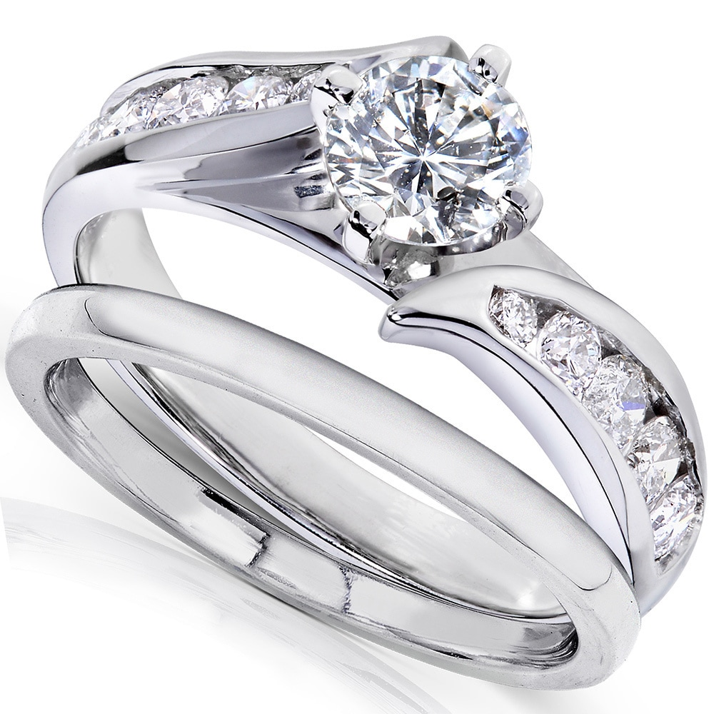 Annello 14k White Gold 1ct TDW Diamond 2 Piece Bridal Ring Set   Free  Shipping Today   Overstock.com   16106662