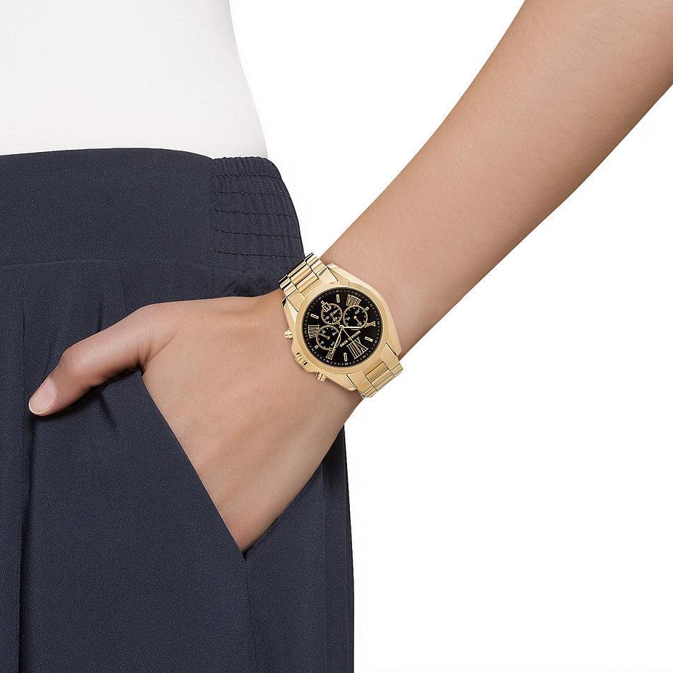d38dc8faac5a Shop Michael Kors Women s MK5739  Bradshaw  Goldtone Chronograph Black Dial  Watch - Free Shipping Today - Overstock - 8883391