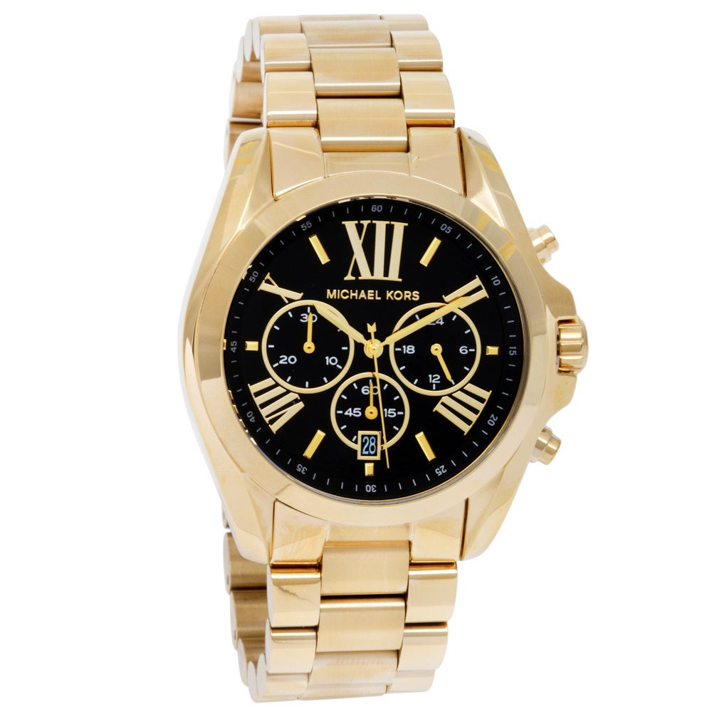 cfb29895d Shop Michael Kors Women's MK5739 'Bradshaw' Goldtone Chronograph Black Dial  Watch - Free Shipping Today - Overstock - 8883391