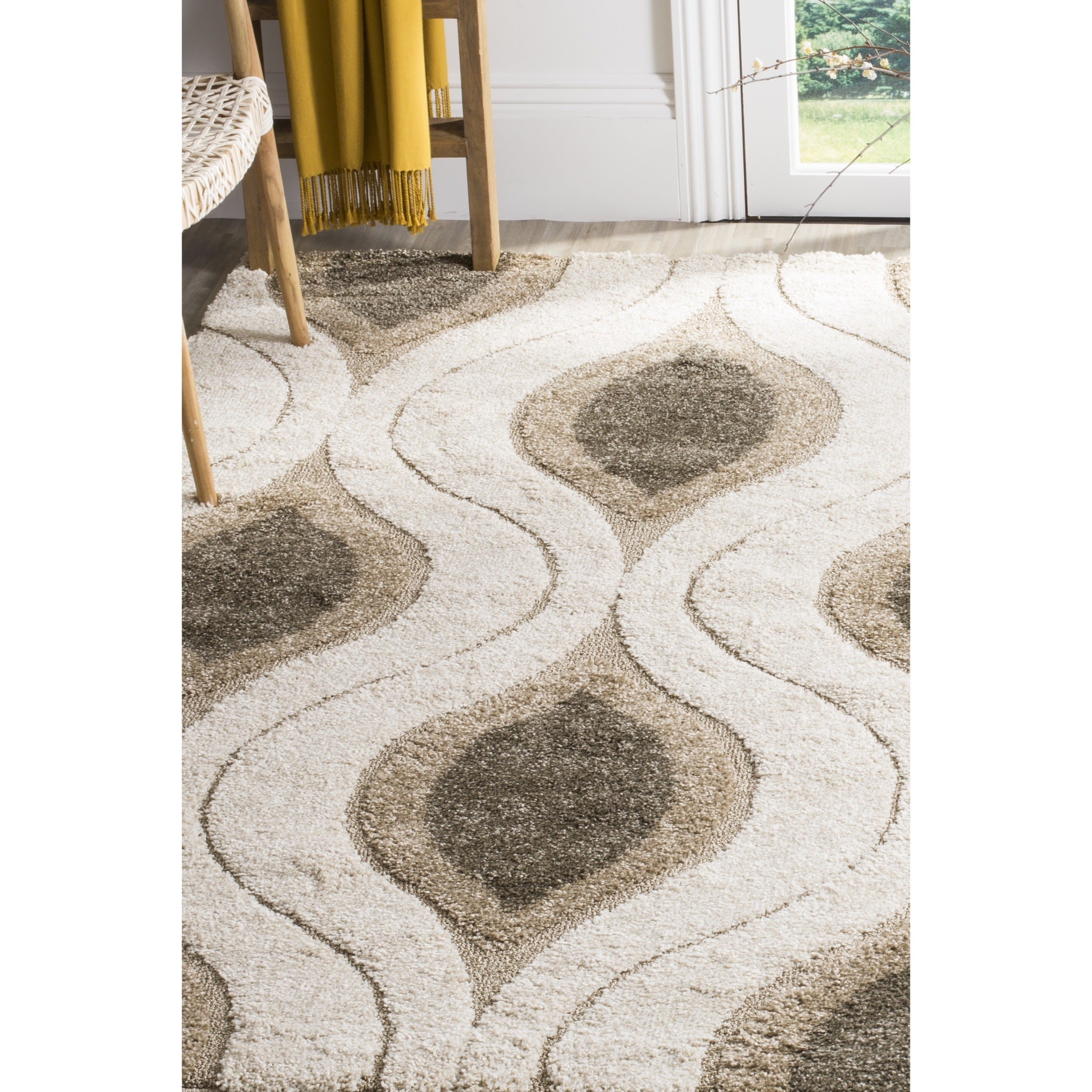 Image result for Safavieh SG461-1179-24 Florida Shag Collection Cream/Smoke Area Rug, 2-Feet 3-Inch by 4-Feet