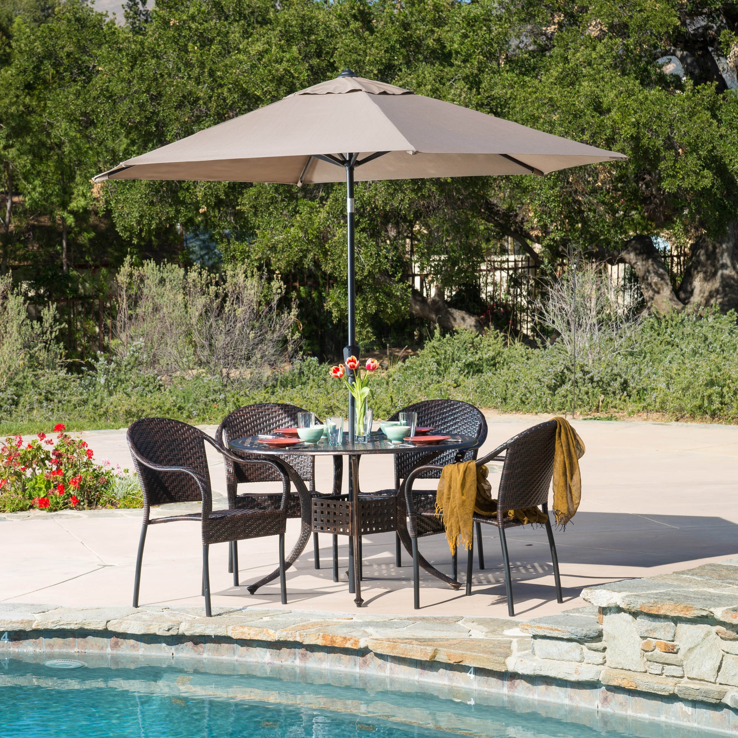 Sunset Circular Outdoor Cast and Wicker 5 piece Set by Christopher