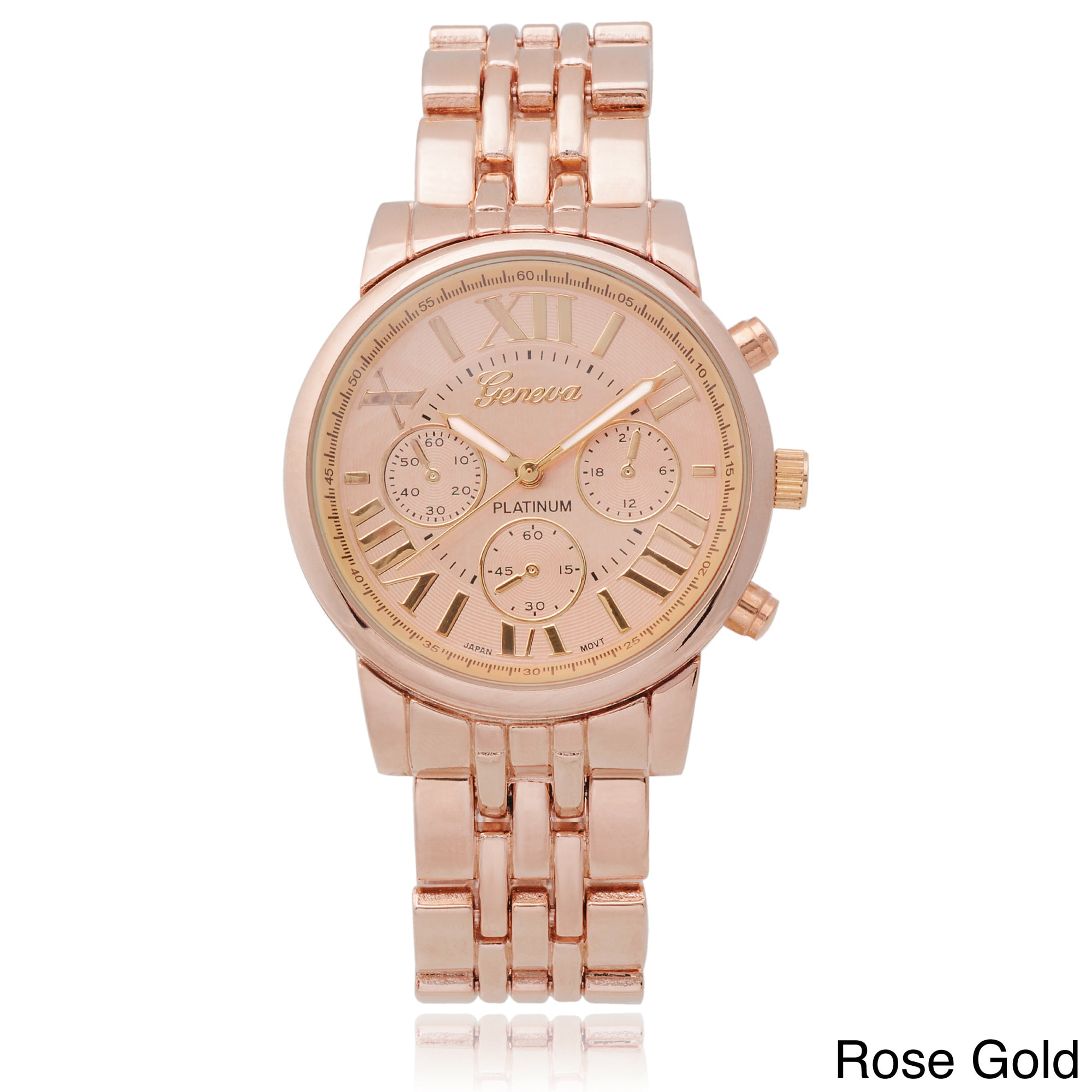 products women front numerals leather watch roman diamond gold s watches gigi croc brown rose jbw
