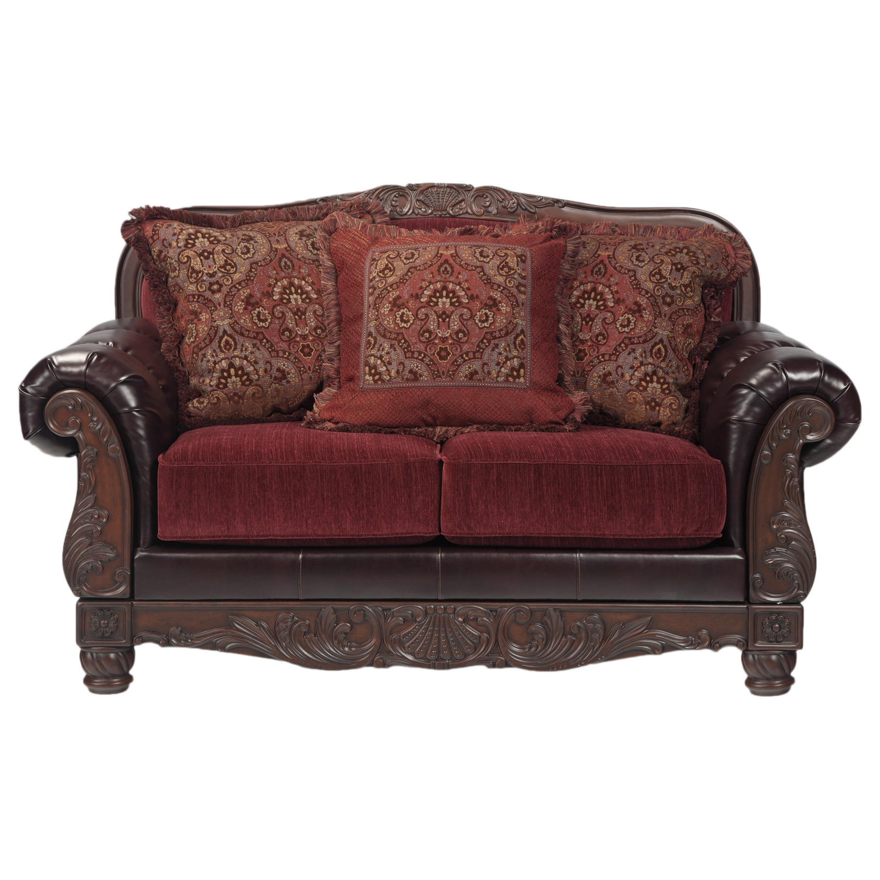 Signature Design By Ashley Weslynn Place Burgundy Loveseat With Accent Pillows Free Shipping Today 8896181