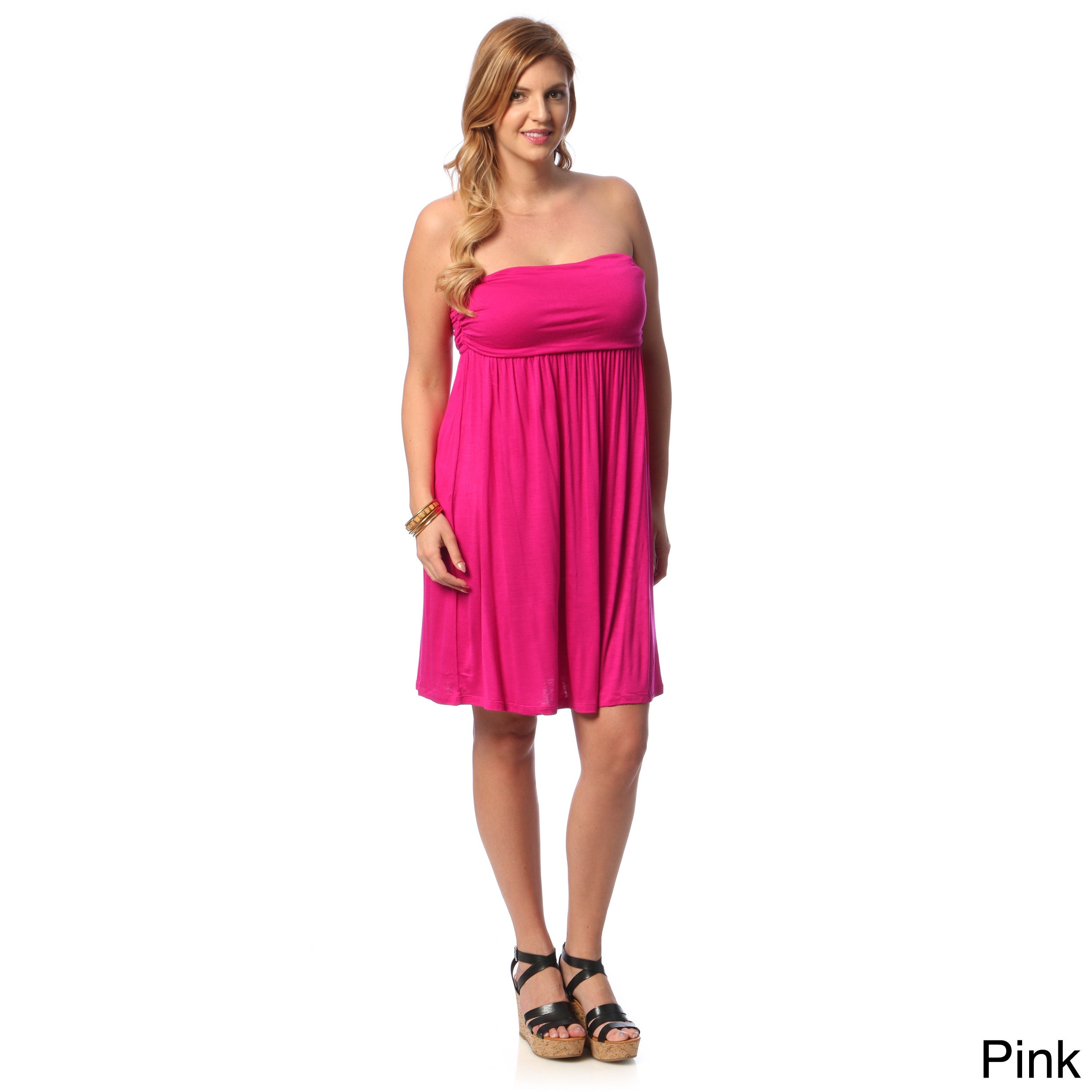 247 Comfort Apparel Womens Plus Size Sleeveless Tube Dress Free
