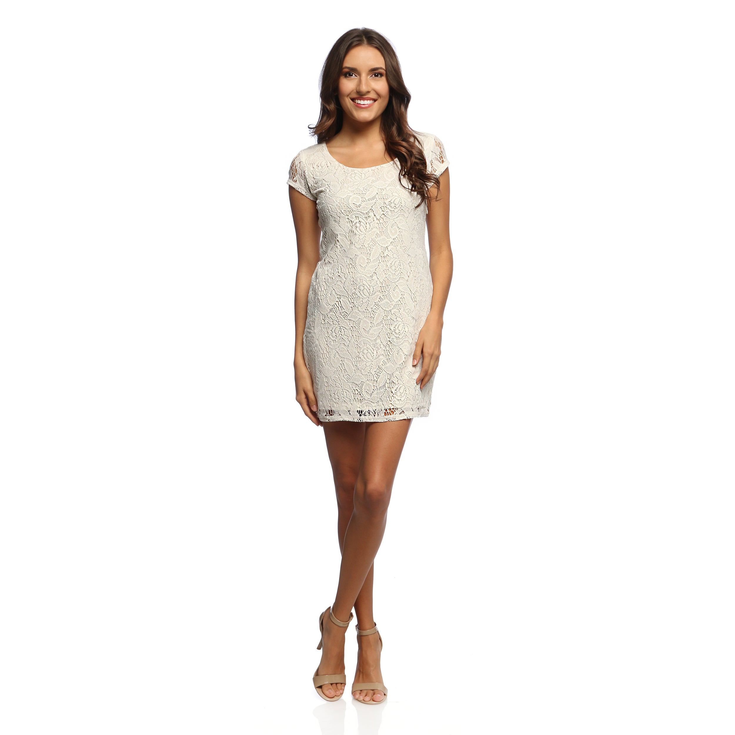 ad911d152fd Short Ivory Lace Dress With Sleeves - Gomes Weine AG