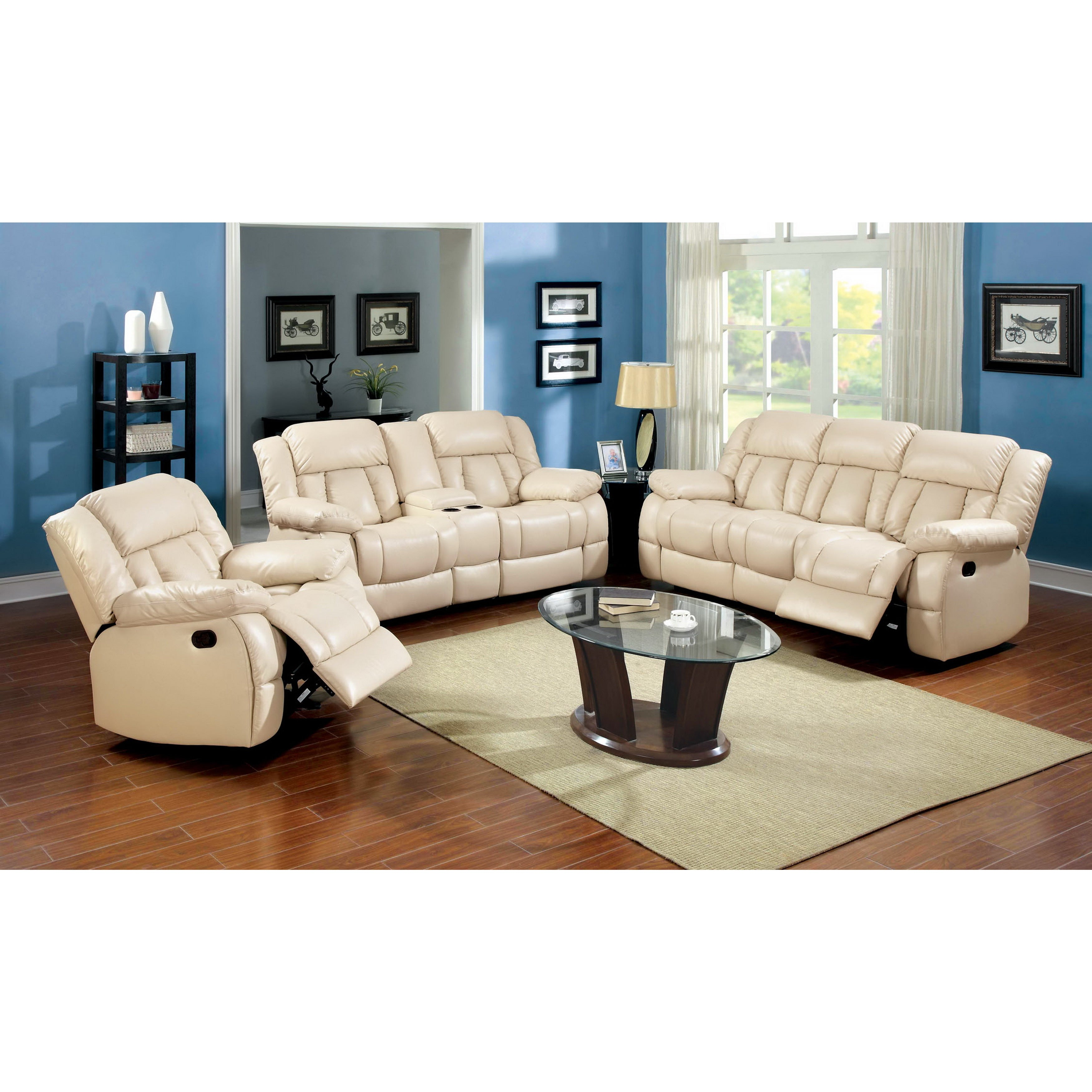 Furniture Of America Barbz 3 Piece Ivory Bonded Leather Recliner  ~ Leather Reclining Sofa Set