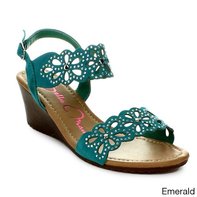 ef2623767961 Anna Women s Barbie-3 Rhinestone Embellished Ankle Strap Cork Wedge Sandals