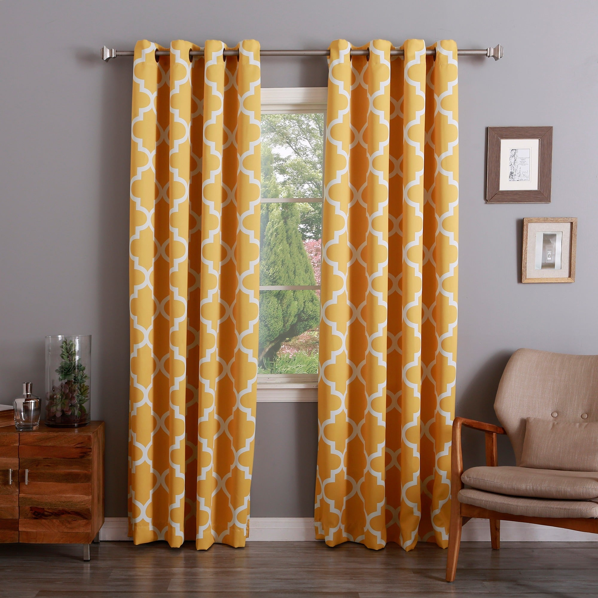 Aurora Home Moroccan Tile Room Darkening Grommet Top 84-inch Curtain Panel  Pair - Free Shipping Today - Overstock.com - 16117311