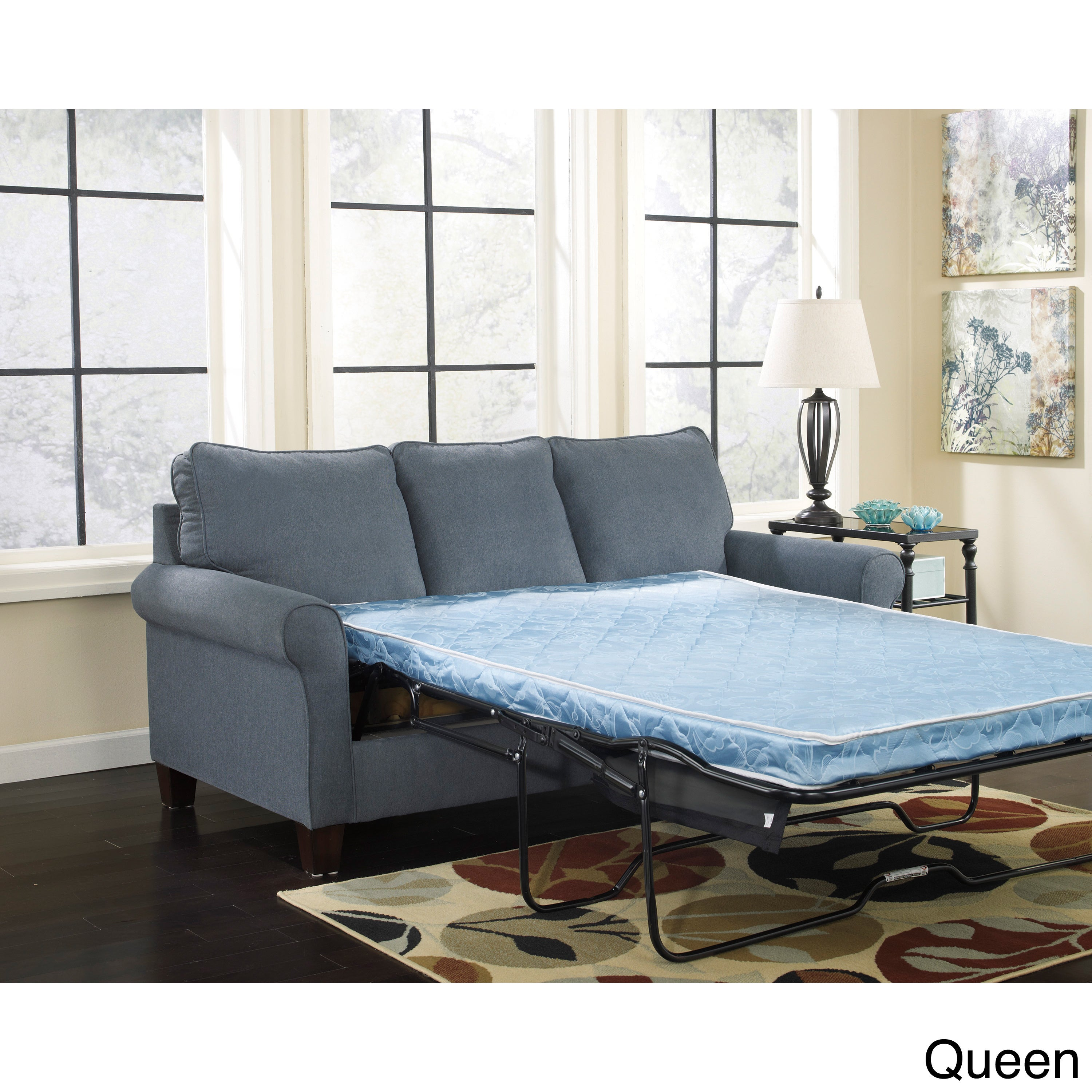 Attractive Signature Design By Ashley Zeth Denim Sleeper Sofa   Free Shipping Today    Overstock.com   16117602
