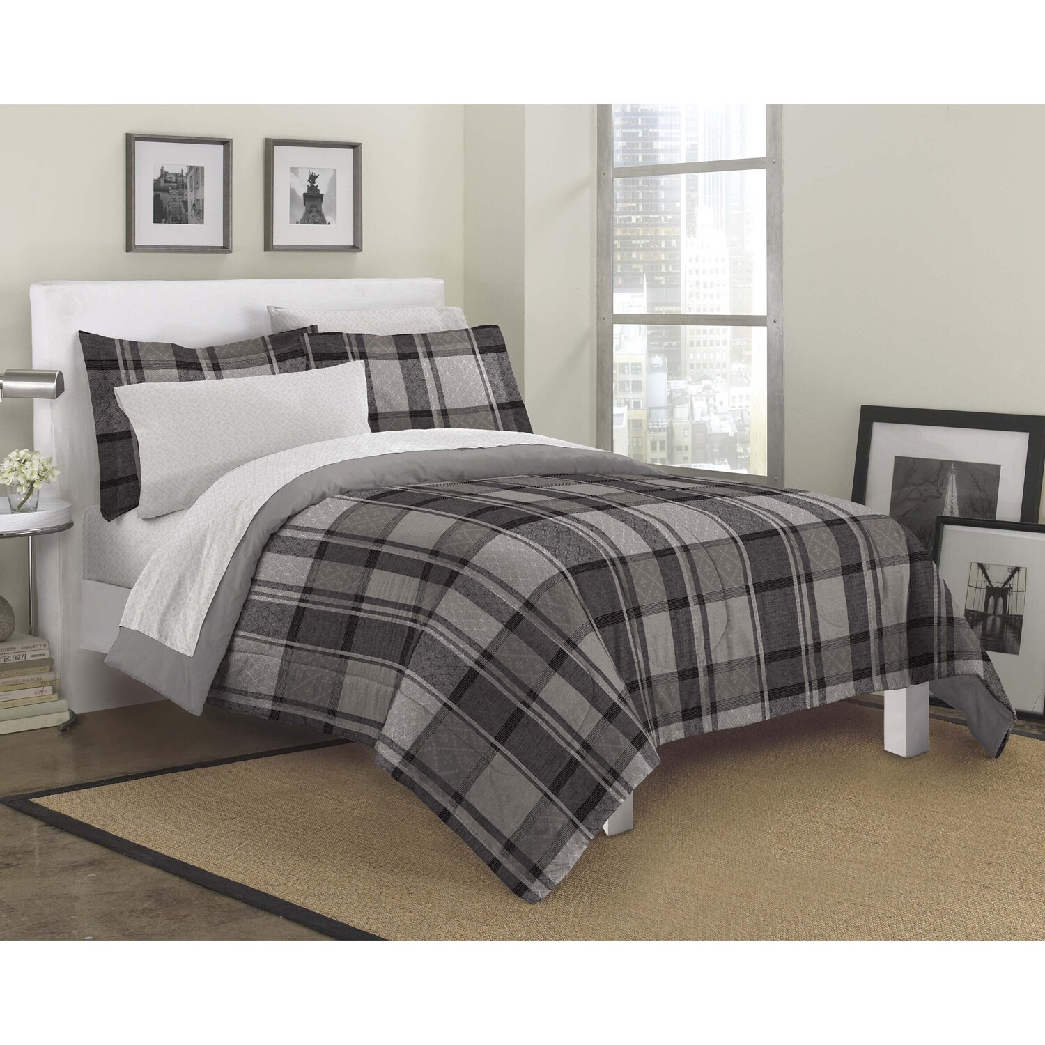 Ultimate Plaid 7 piece Bed in a Bag with Sheet Set Free Shipping