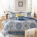 Madison Park Moraga Blue Medallion Print 6-piece Microfiber Coverlet Set