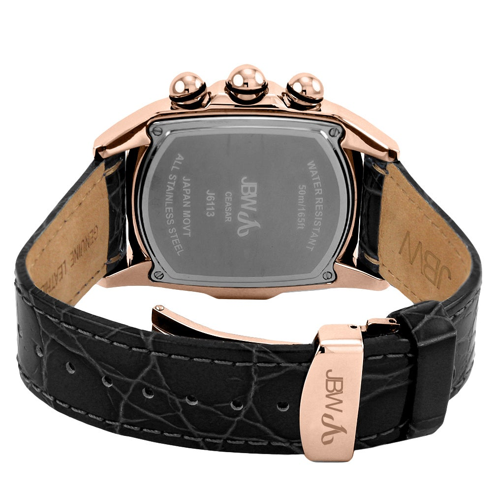 JBW Men's 'Caesar' Rose Goldtone Stainless Steel Black Leather Diamond Watch