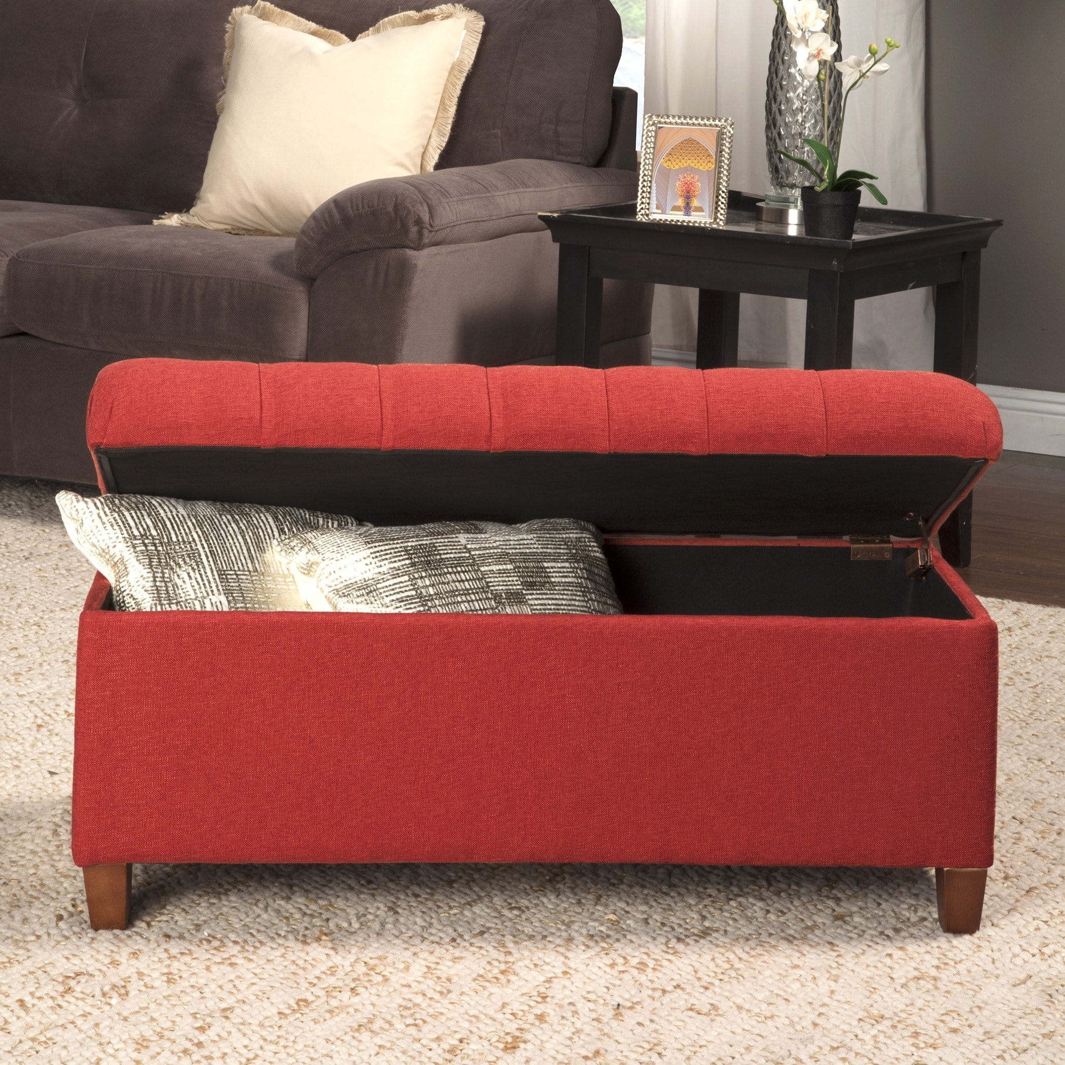 faux today storage burgundy garden free bench overstock product with hinge home leather red ottoman texture waxed shipping