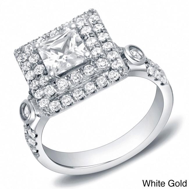 Auriya 2ct TDW Square Princess-Cut Double Halo Diamond Engagement Ring 14k  Gold e07cf8627b