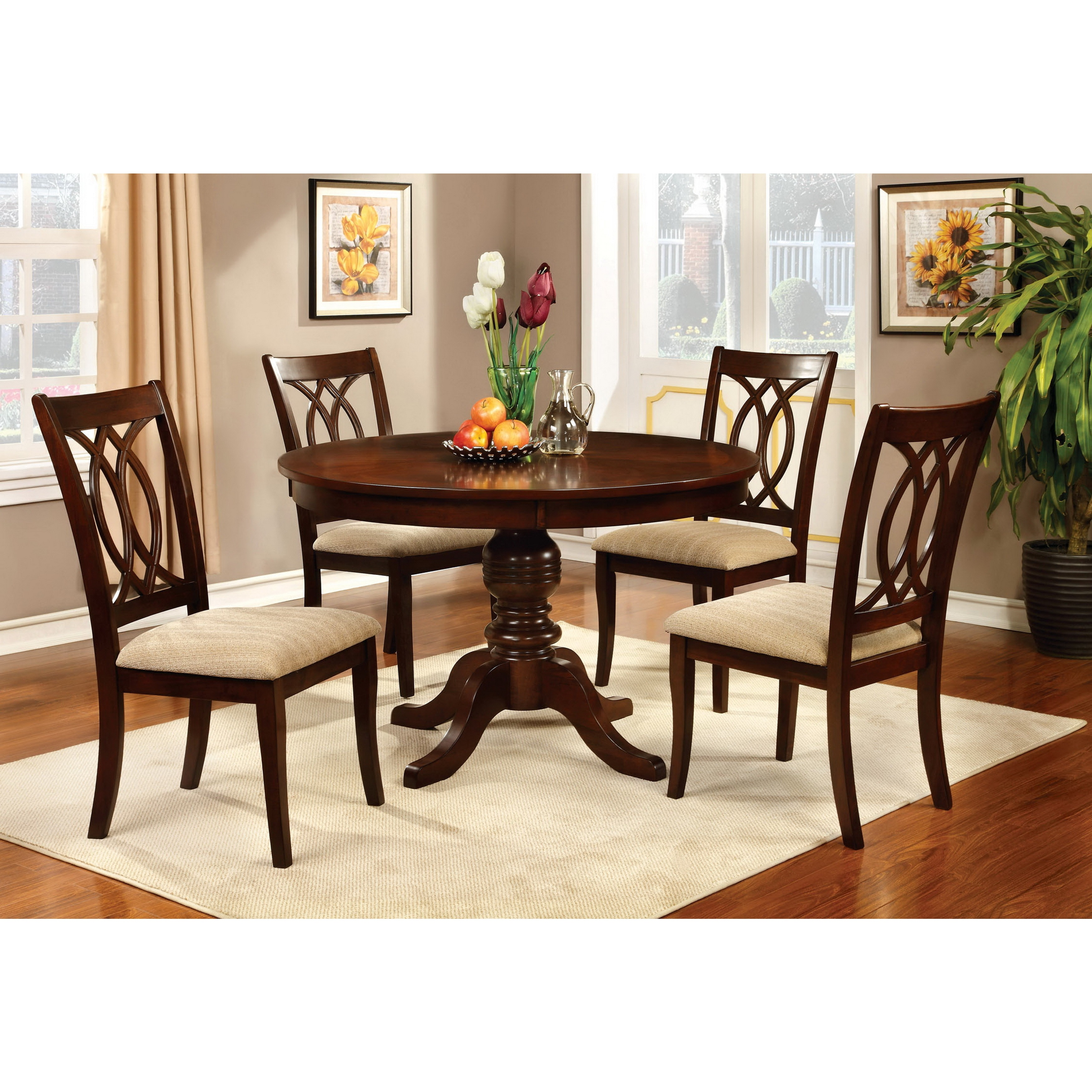 Furniture of America Cerille Elegant Brown Cherry Dining Chairs (Set ...