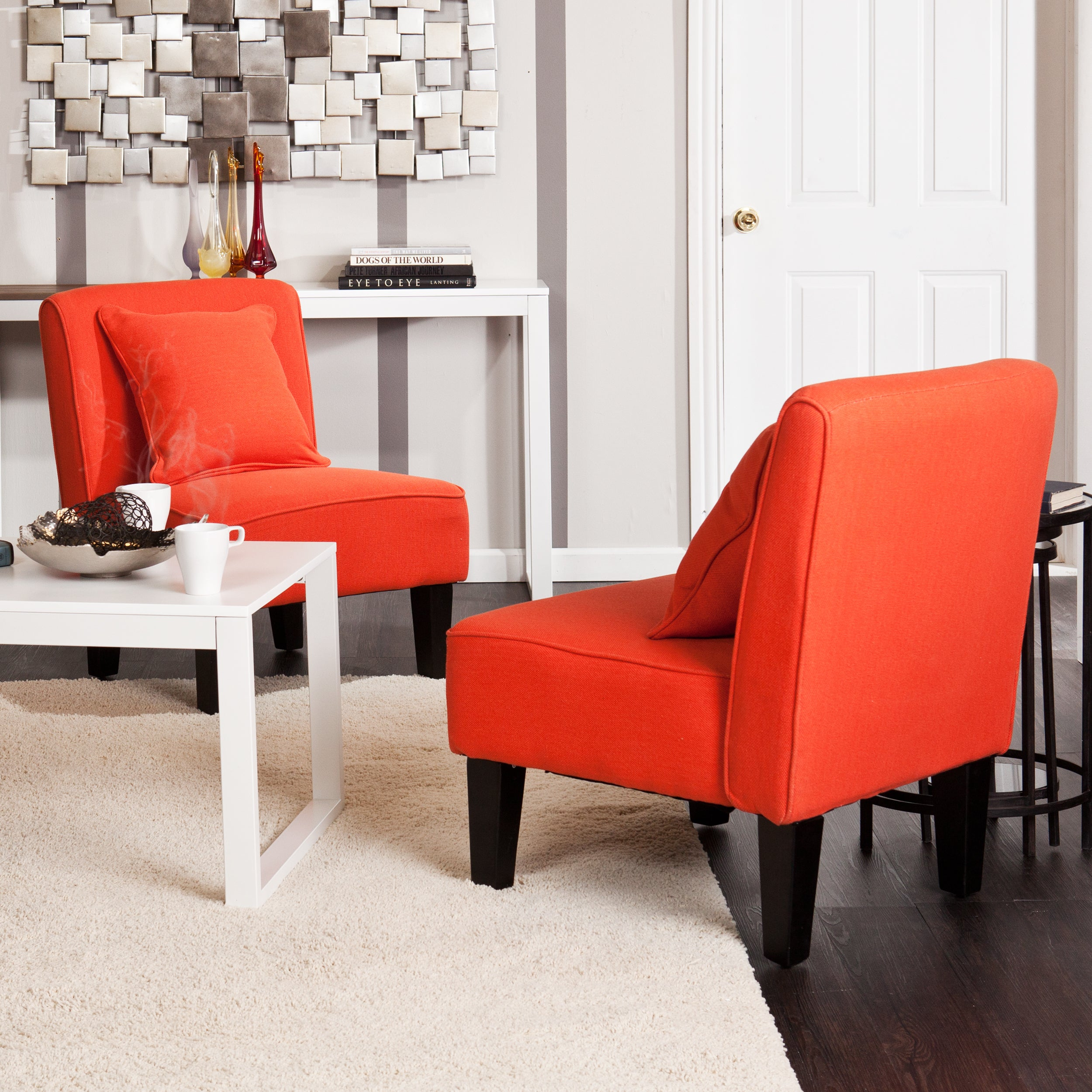 shop holly martin purban red orange slipper chairs set of 2
