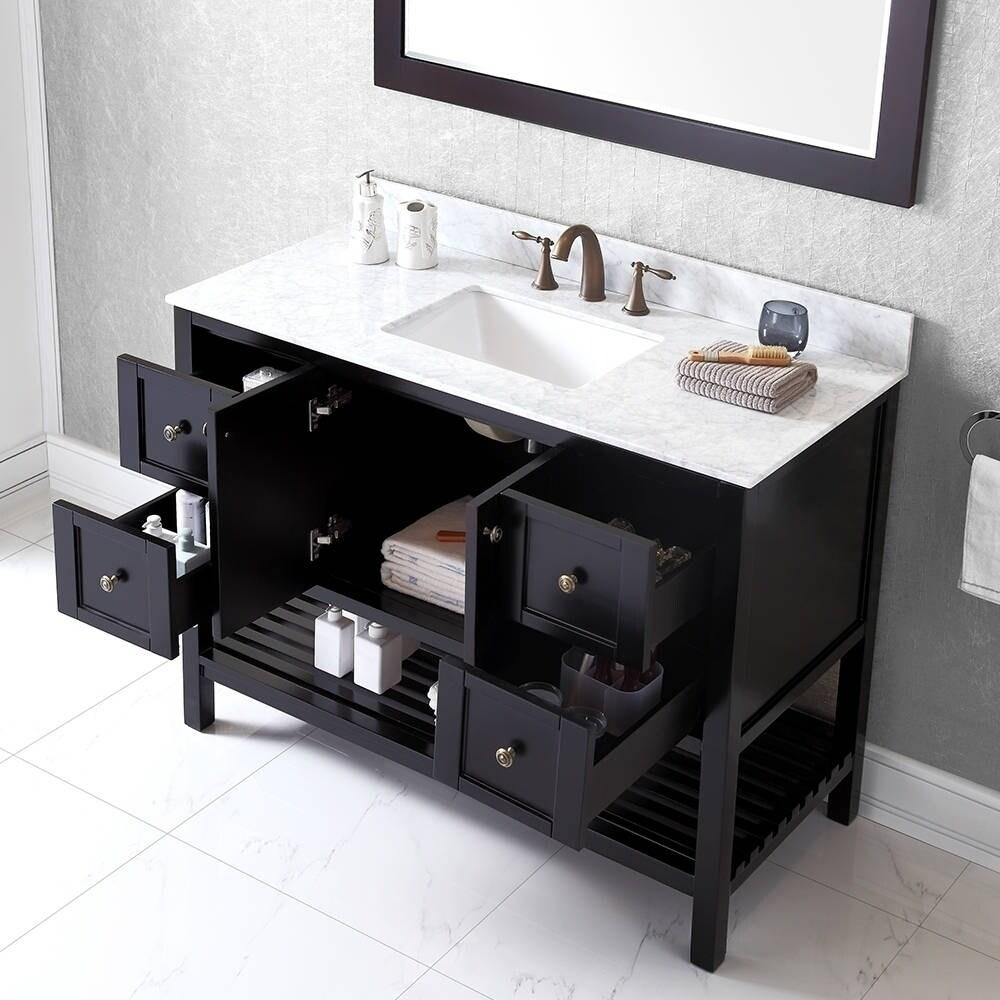 Sets bathroom vanity ari kitchen second - Virtu Usa Winterfell 48 Inch Carrara White Marble Single Sink Bathroom Vanity Set Free Shipping Today Overstock Com 16129090