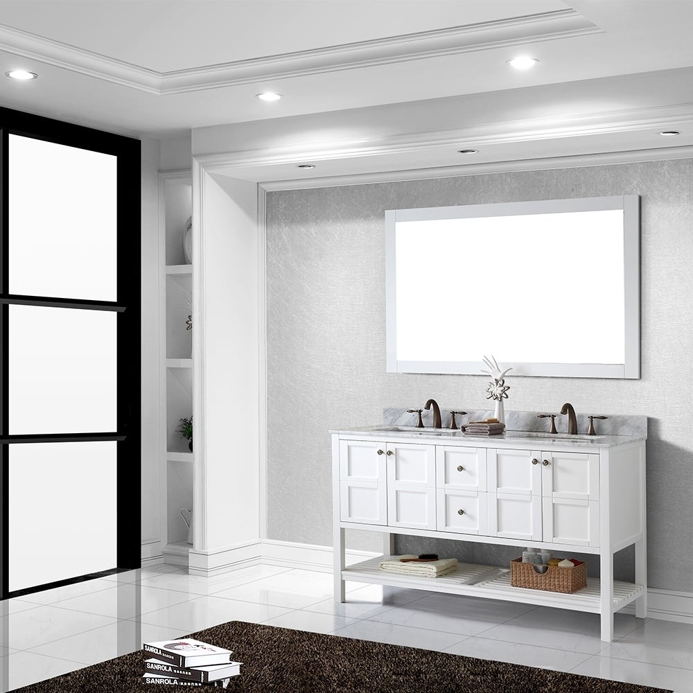 sumptuous design ideas bathroom vanities richmond hill. Virtu USA Winterfell 60 inch Double Sink White Vanity with Carrara  Marble Countertop Backsplash Free Shipping Today Overstock com 16129092