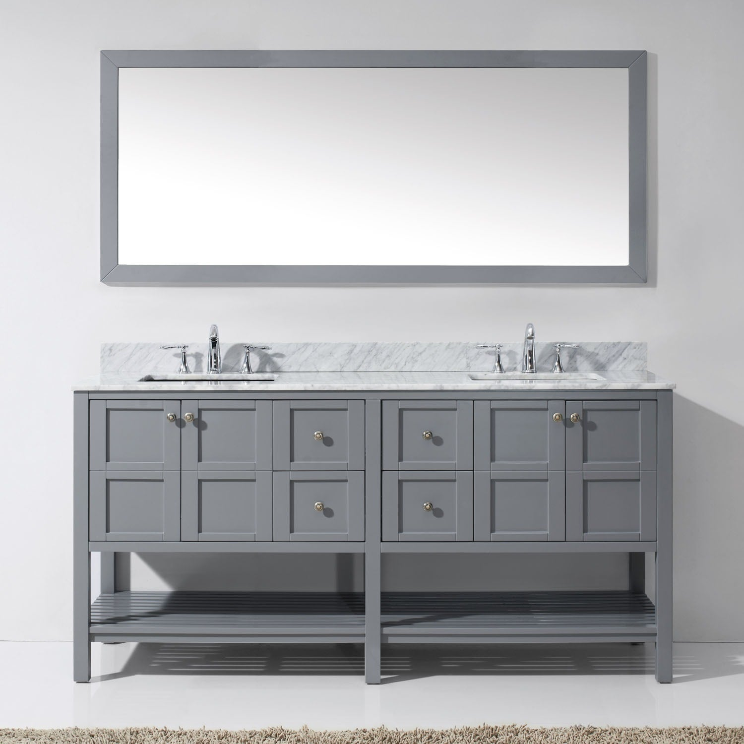 Shop Winterfell 72-inch Double Vanity White Marble Top Square Sink ...