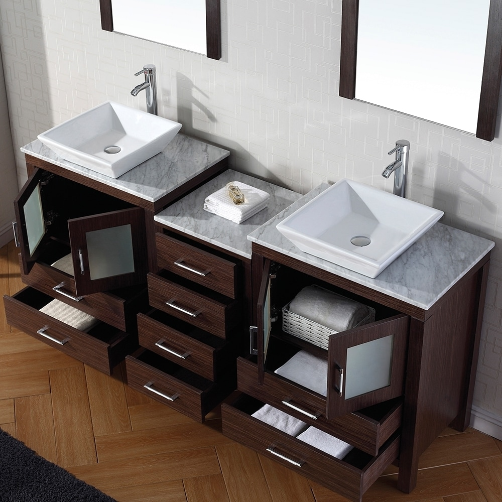 Virtu USA Dior 66 Inch Double Sink Vanity Set In Espresso   Free Shipping  Today   Overstock.com   16129147