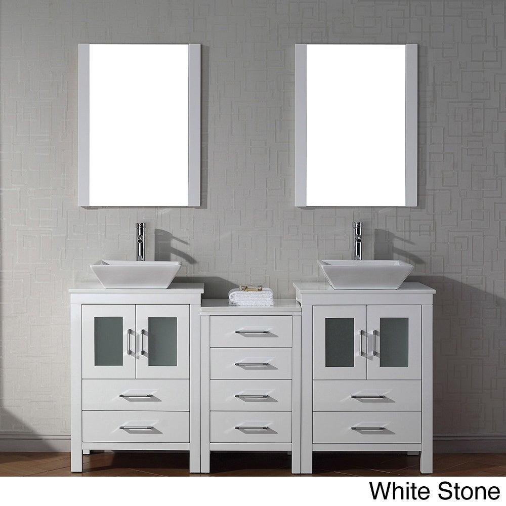 Ordinaire Virtu USA Dior 66 Inch Double Sink Vanity Set In White   Free Shipping  Today   Overstock.com   16129149