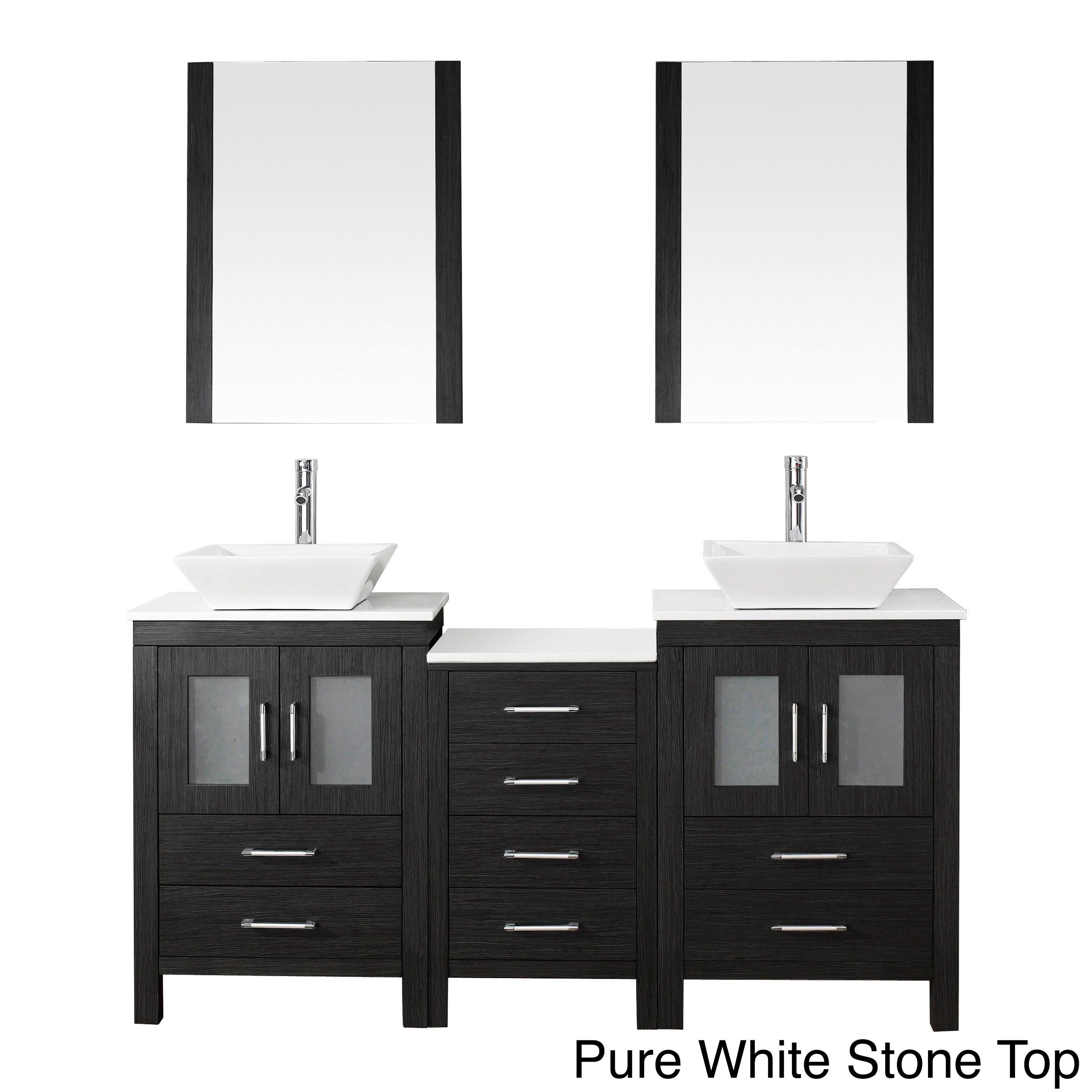 Virtu Usa Dior 66 Inch Double Sink Vanity Set In Zebra Grey Free Shipping Today 8910956