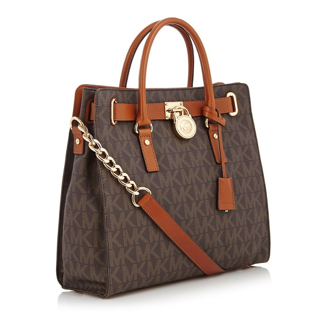 115f5426ba0a Shop Michael Kors Hamilton Large North/South Brown Logo Tote Bag - Free  Shipping Today - Overstock - 8911861
