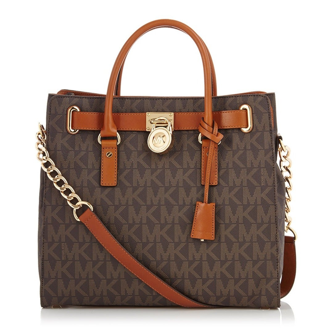 23594481bf23 Shop Michael Kors Hamilton Large North/South Brown Logo Tote Bag - Free  Shipping Today - Overstock - 8911861