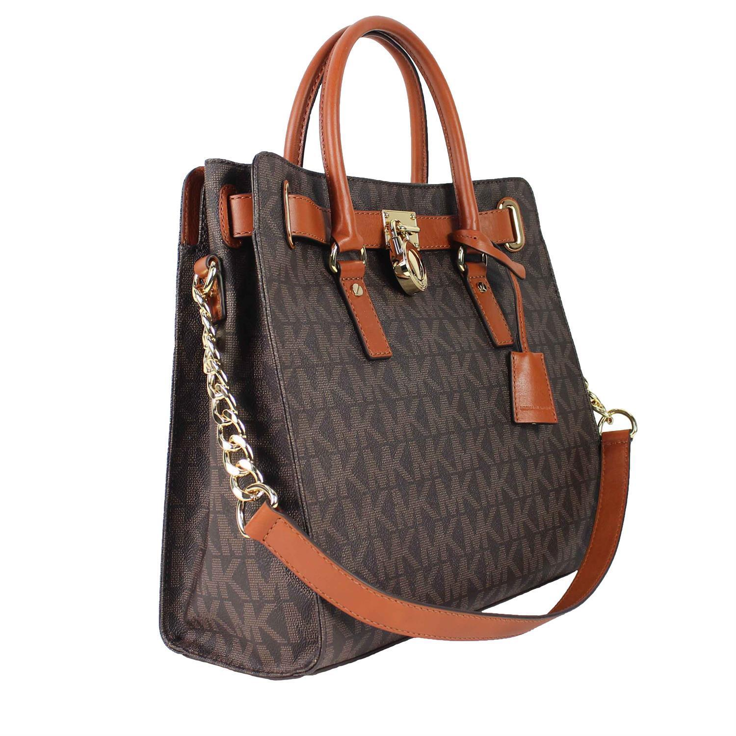 59286a9c57b867 Shop Michael Kors Hamilton Large North/South Brown Logo Tote Bag - Free  Shipping Today - Overstock - 8911861