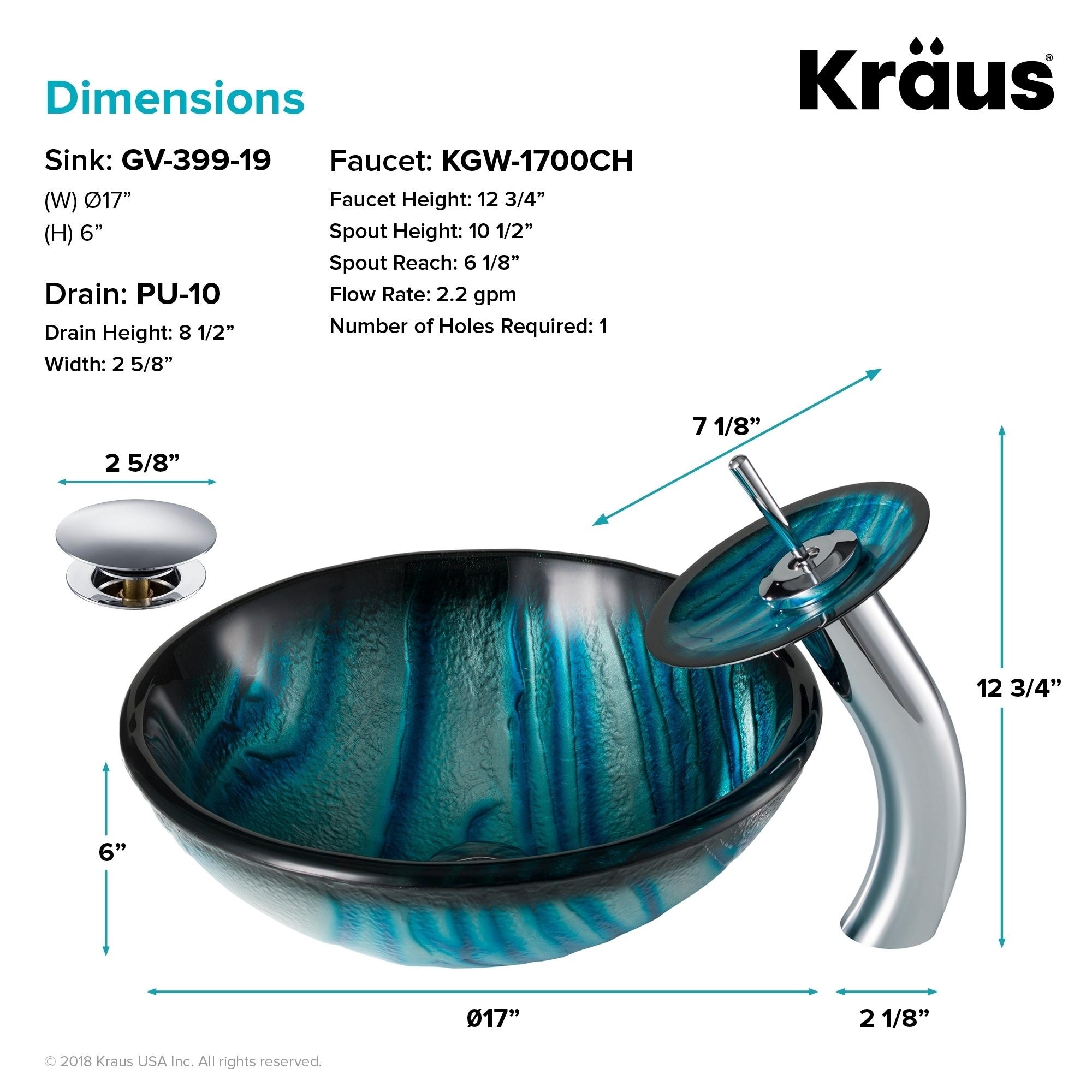 Shop Kraus 4-in-1 Bathroom Set C-GV-399-19mm-10 Ladon Glass Vessel ...