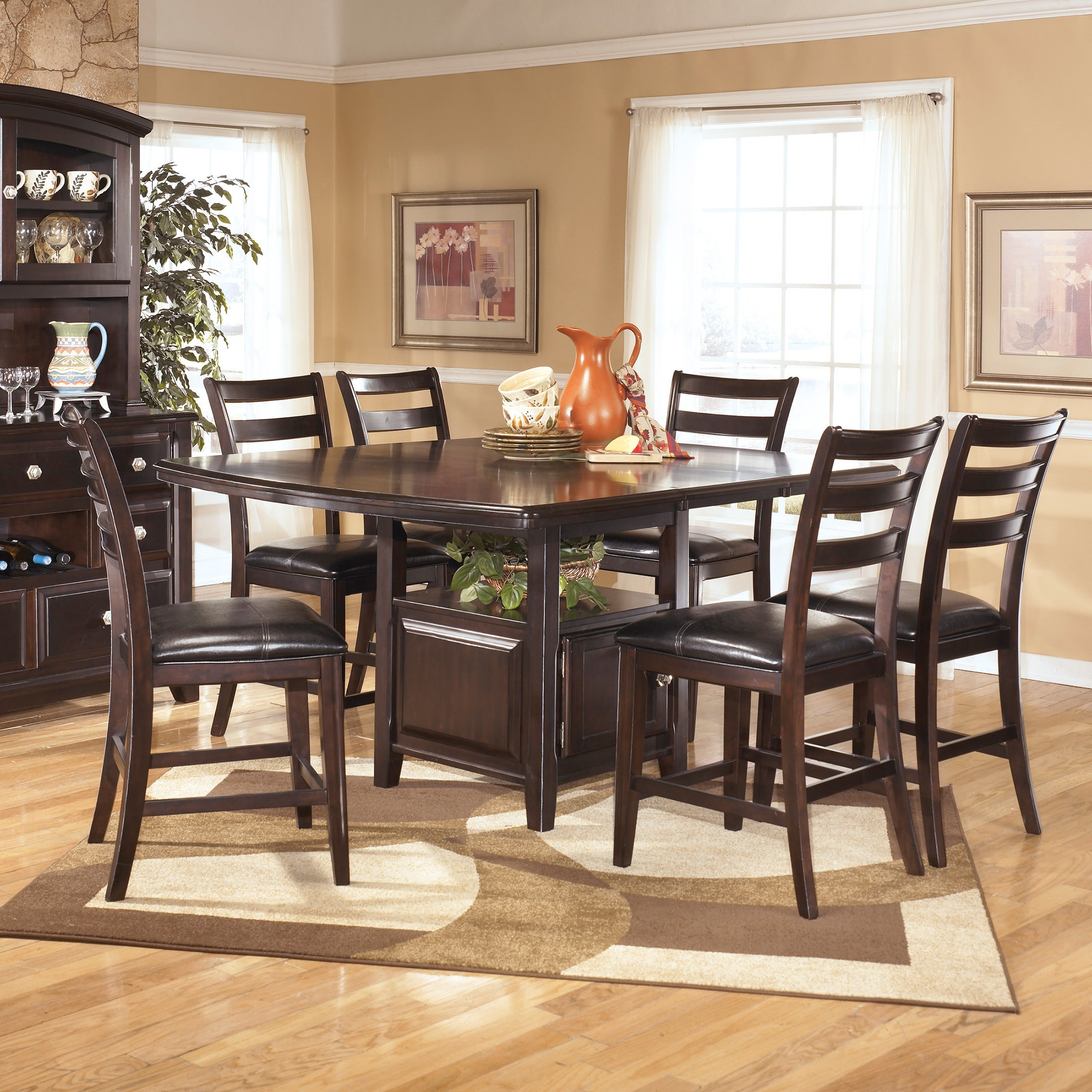 Shop Signature Design By Ashley Ridgley Square Dark Brown Dining Room Table