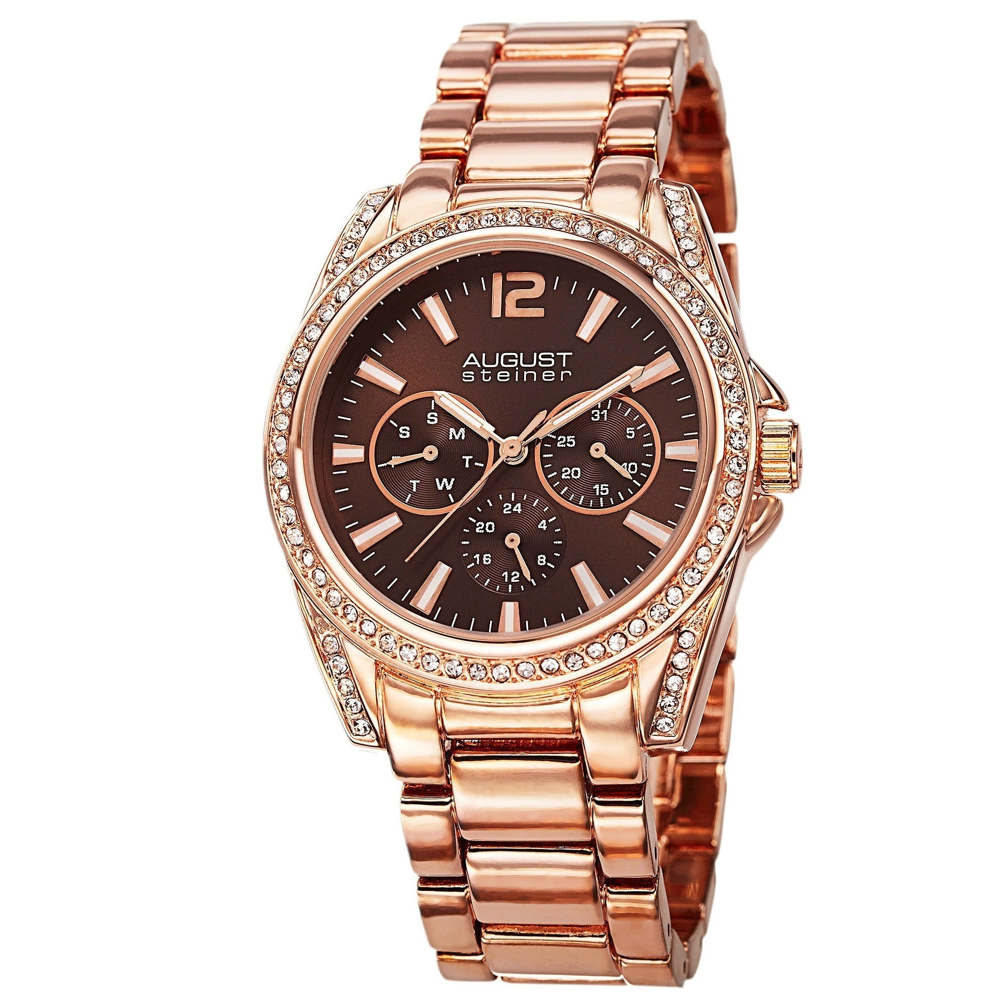 Shop August Steiner Womens Crystal Quartz Multifunction Rose Tone Fossil Es3590 Stella Stainless Steel Watch Bracelet Free Shipping Today 8915508