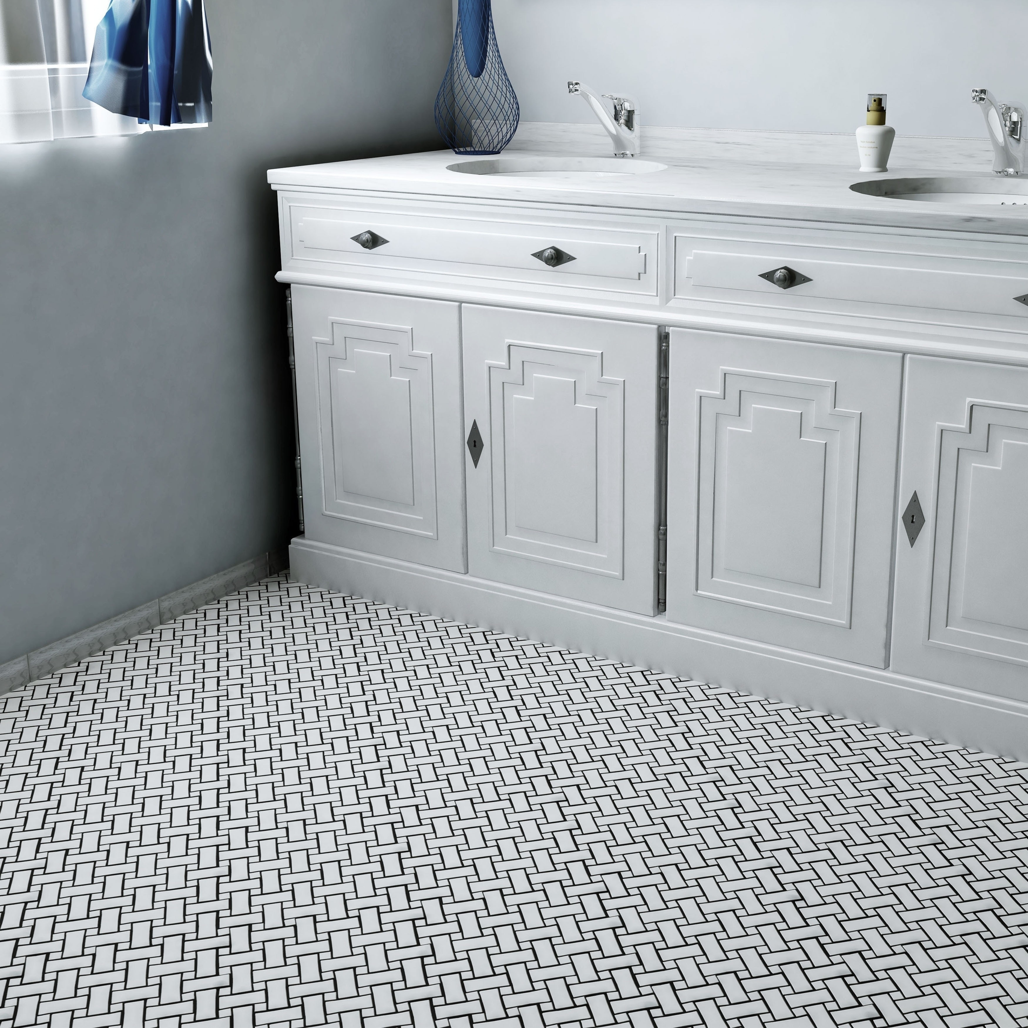 Somertile 105x105 inch victorian basket weave white porcelain somertile 105x105 inch victorian basket weave white porcelain mosaic floor and wall tile case of free shipping today overstock 16142427 dailygadgetfo Images