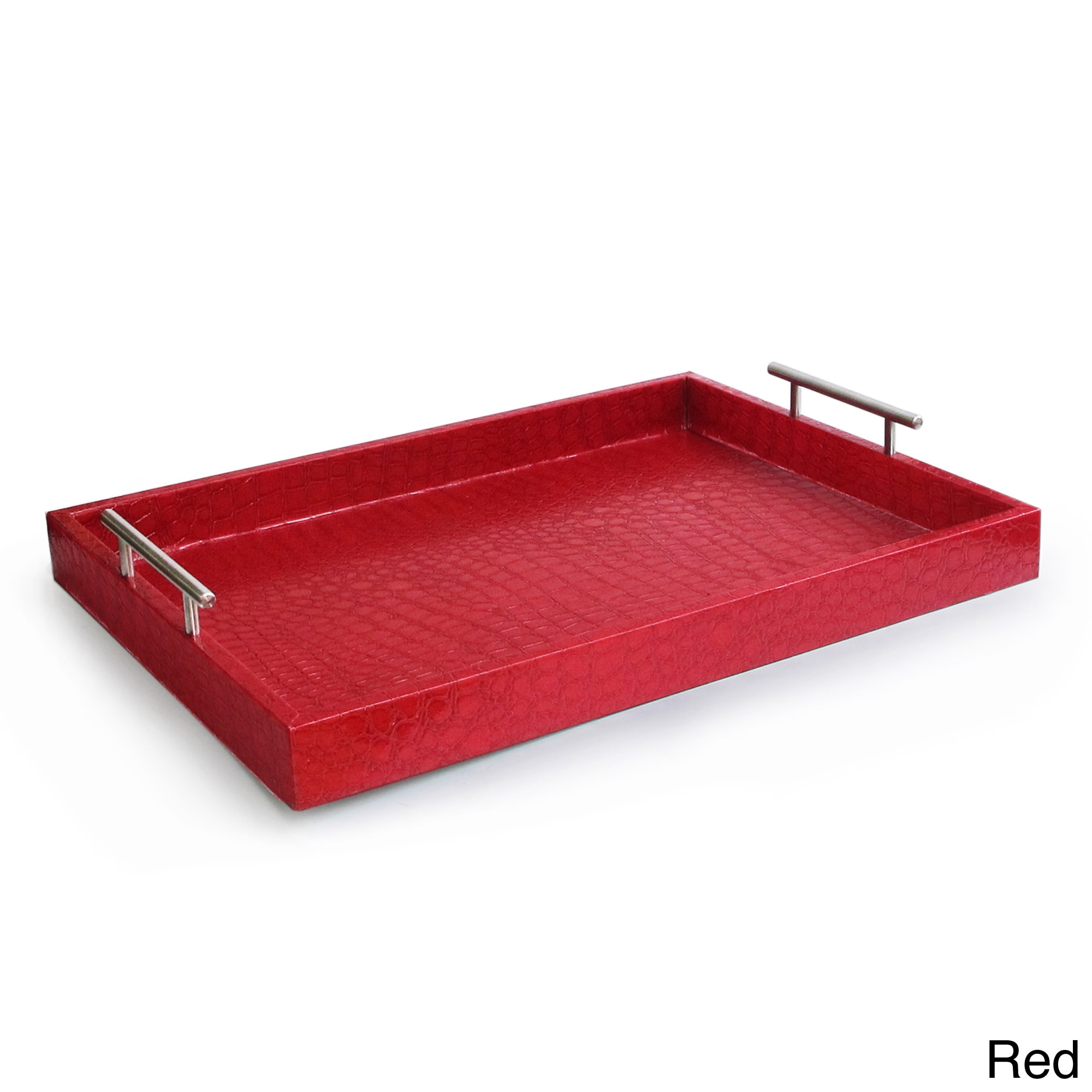 Croc-embossed Serving Tray with Metal Handles - Free Shipping On Orders  Over $45 - Overstock.com - 16143529