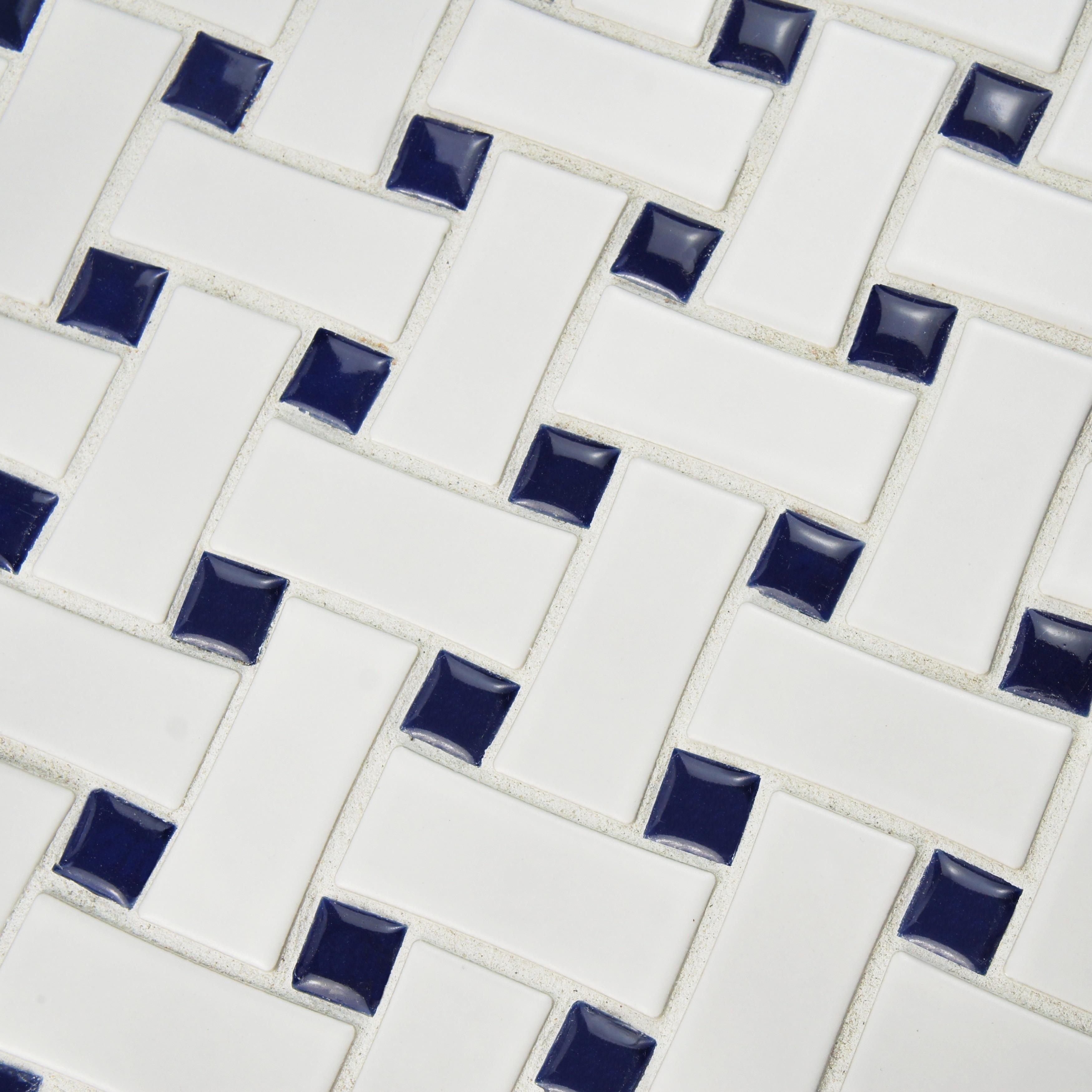 SomerTile 10 5x10 5 inch Victorian Basket Weave White Cobalt
