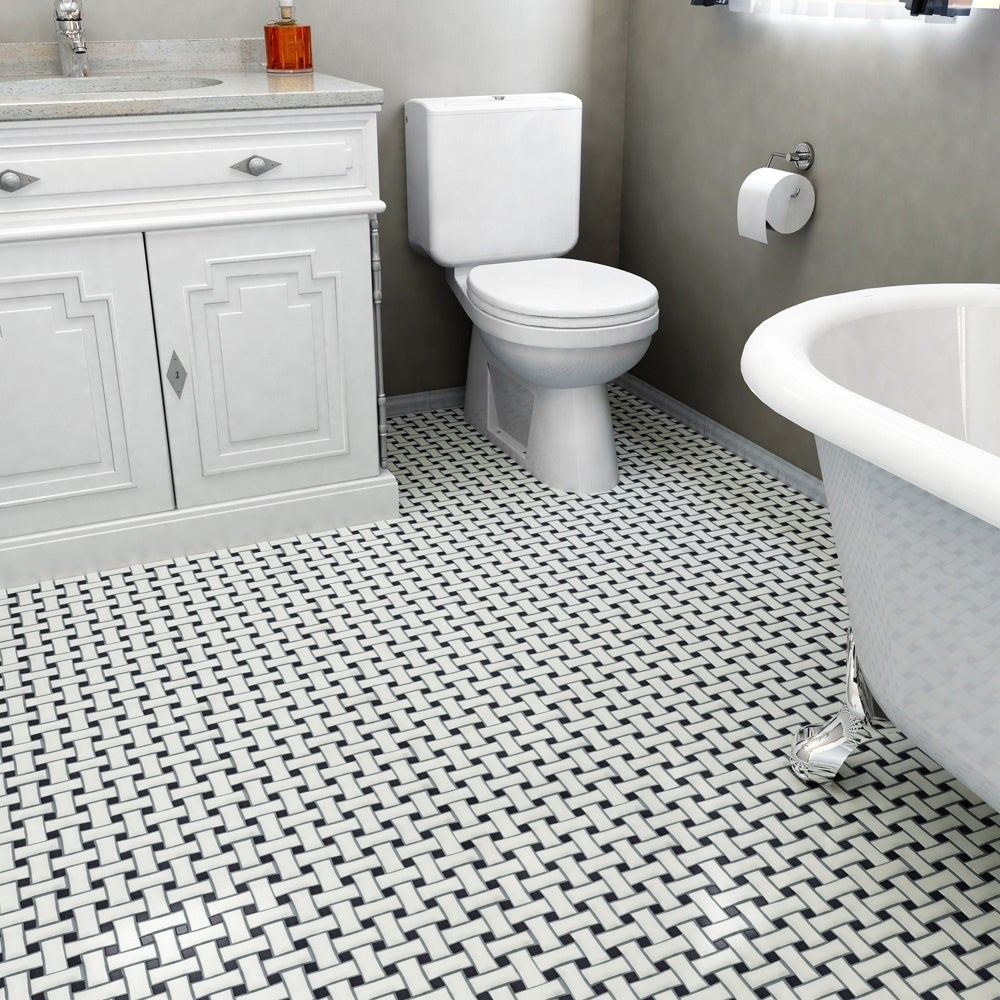 Somertile 10 5x10 5 Inch Victorian Dog Bone Basket Weave White Black Porcelain Mosaic Floor And Wall Tile Tiles 7 84 Sqft