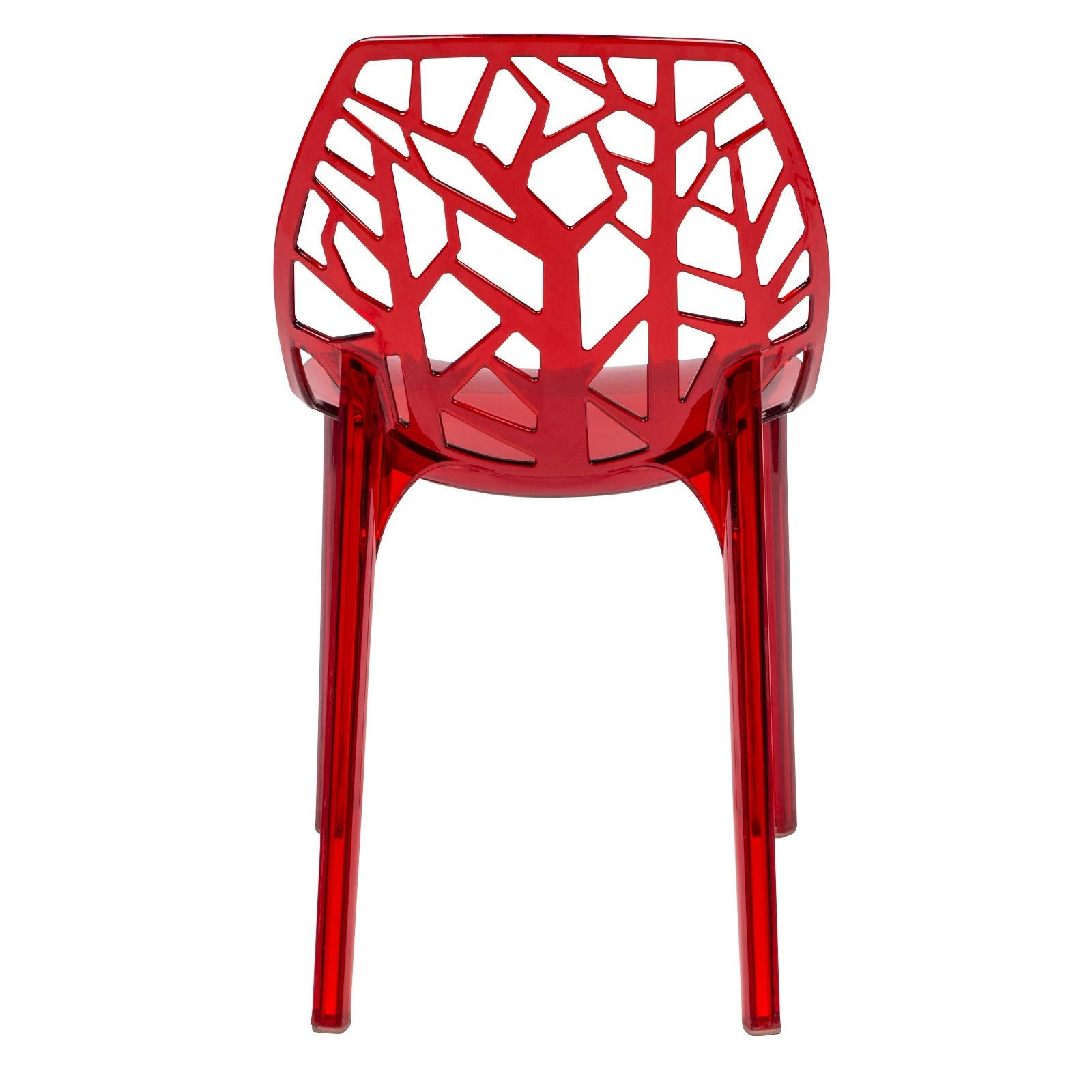 Leisuremod Modern Flora Transpa Red Plastic Dining Chair Set Of 6 Free Shipping Today 8930619