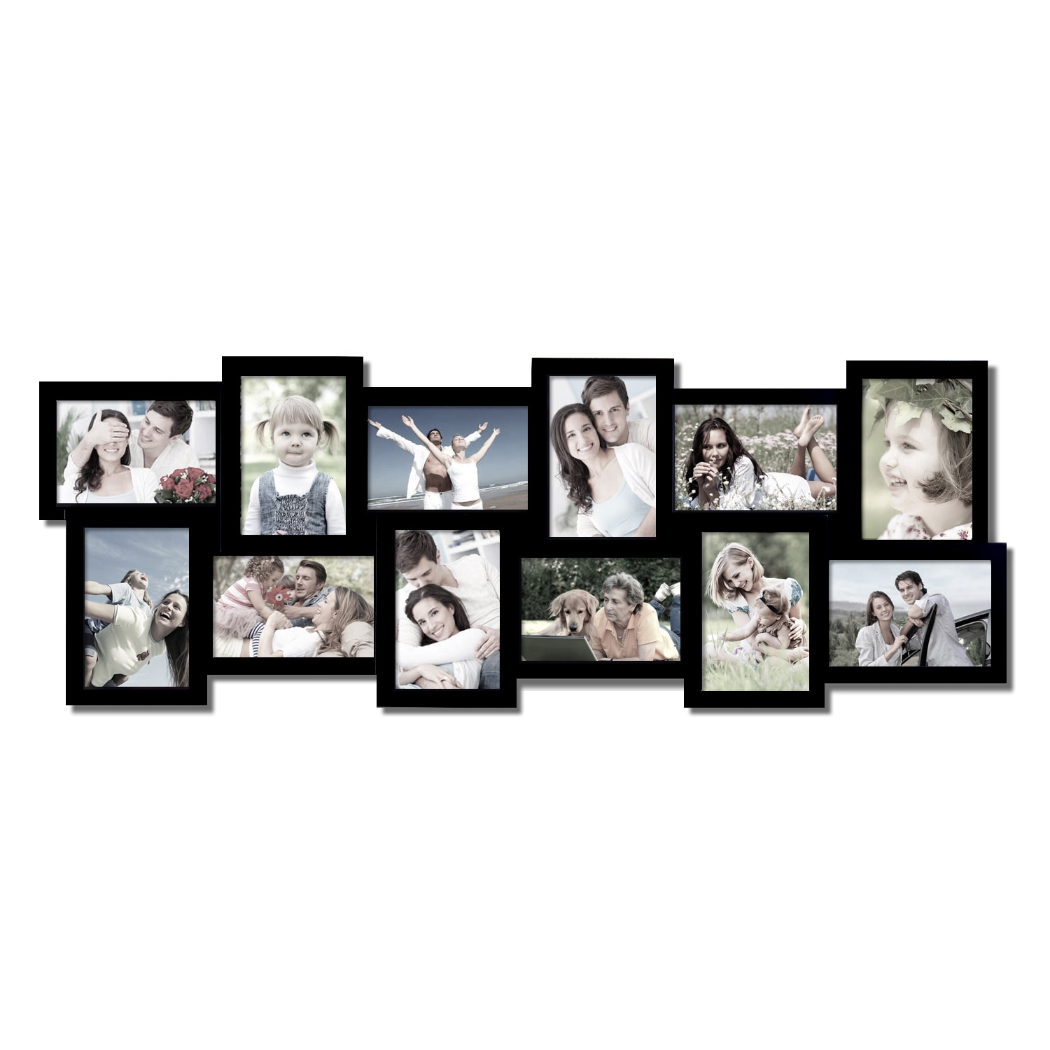 Adeco 12-opening Black Wooden Wall Hanging Collage Photo Frames - Free  Shipping Today - Overstock.com - 16146333