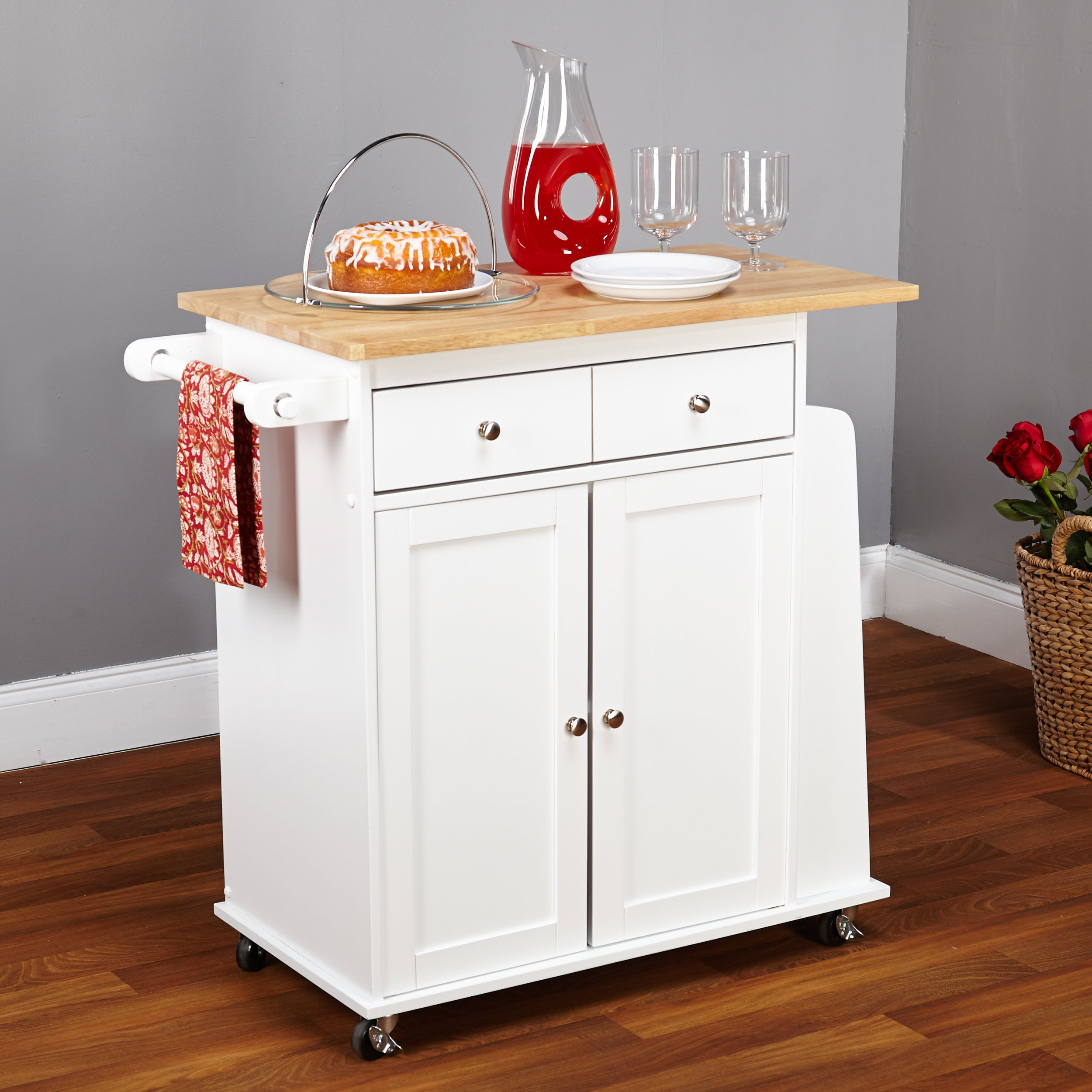 Simple Living White Sonoma Kitchen Cart - Free Shipping Today ...