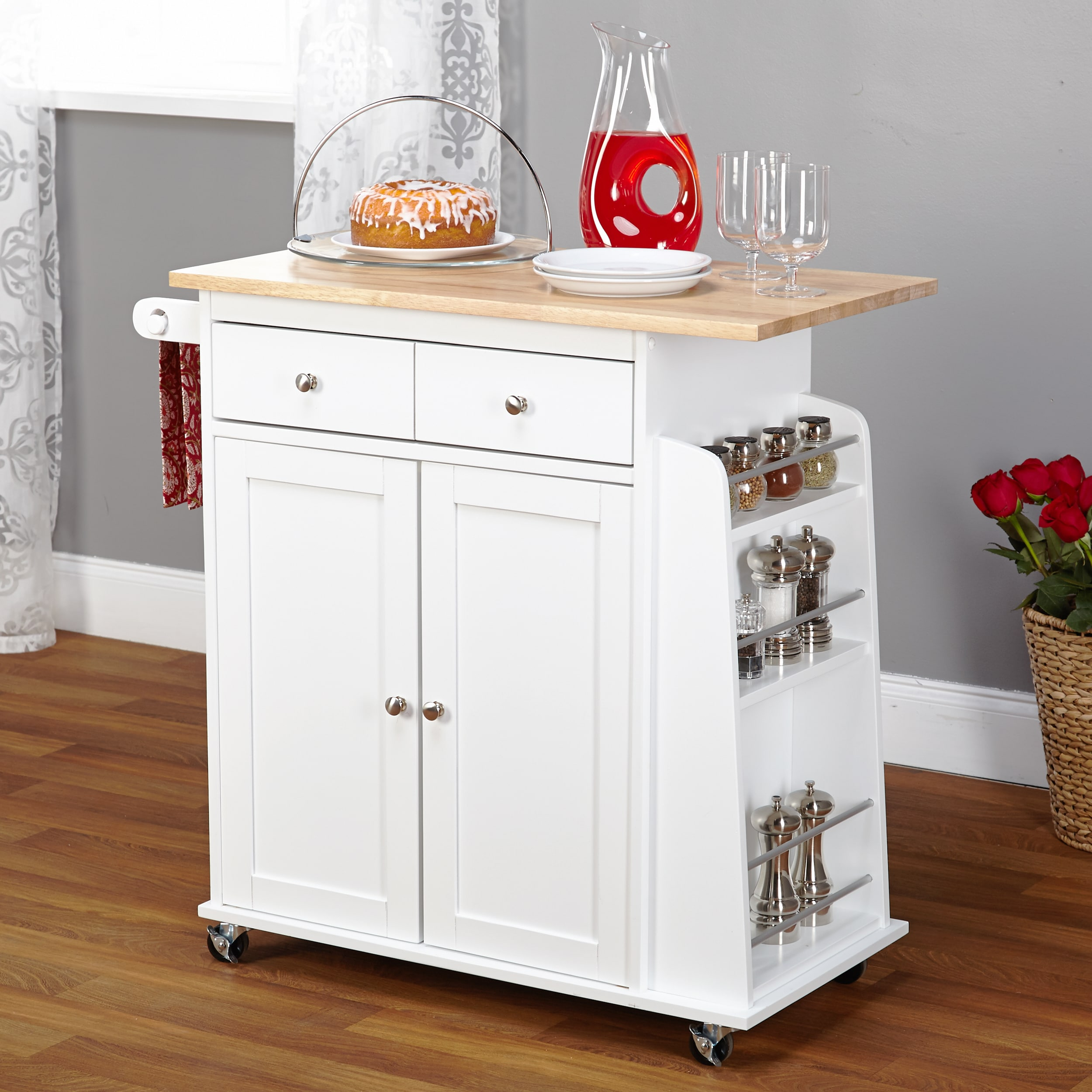 Simple Living White Sonoma Kitchen Cart Free Shipping Today