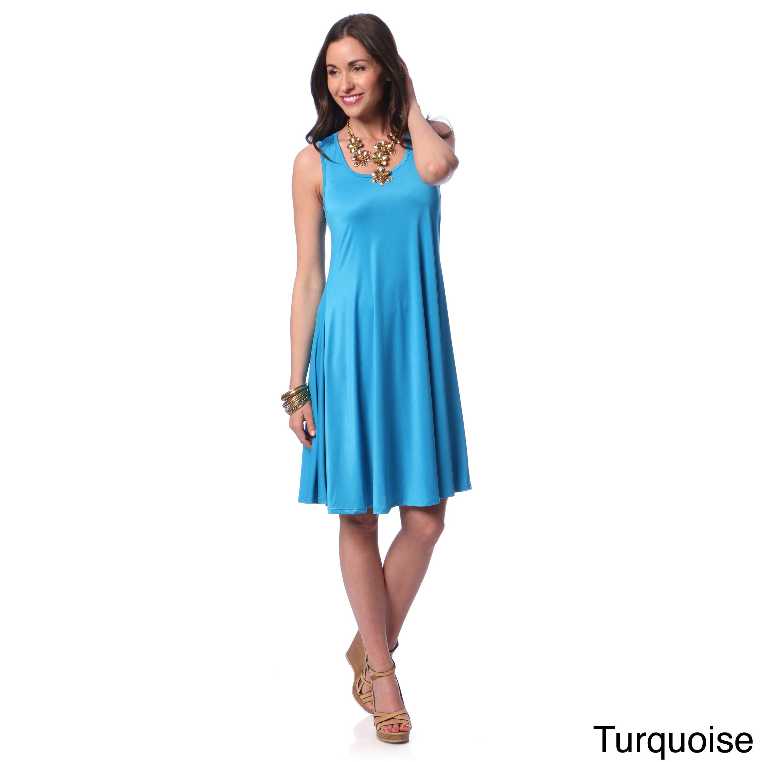 f9a8753b18 Shop 24/7 Comfort Apparel Women's Solid Sleeveless Tank Dress - On Sale -  Free Shipping On Orders Over $45 - Overstock - 8932367