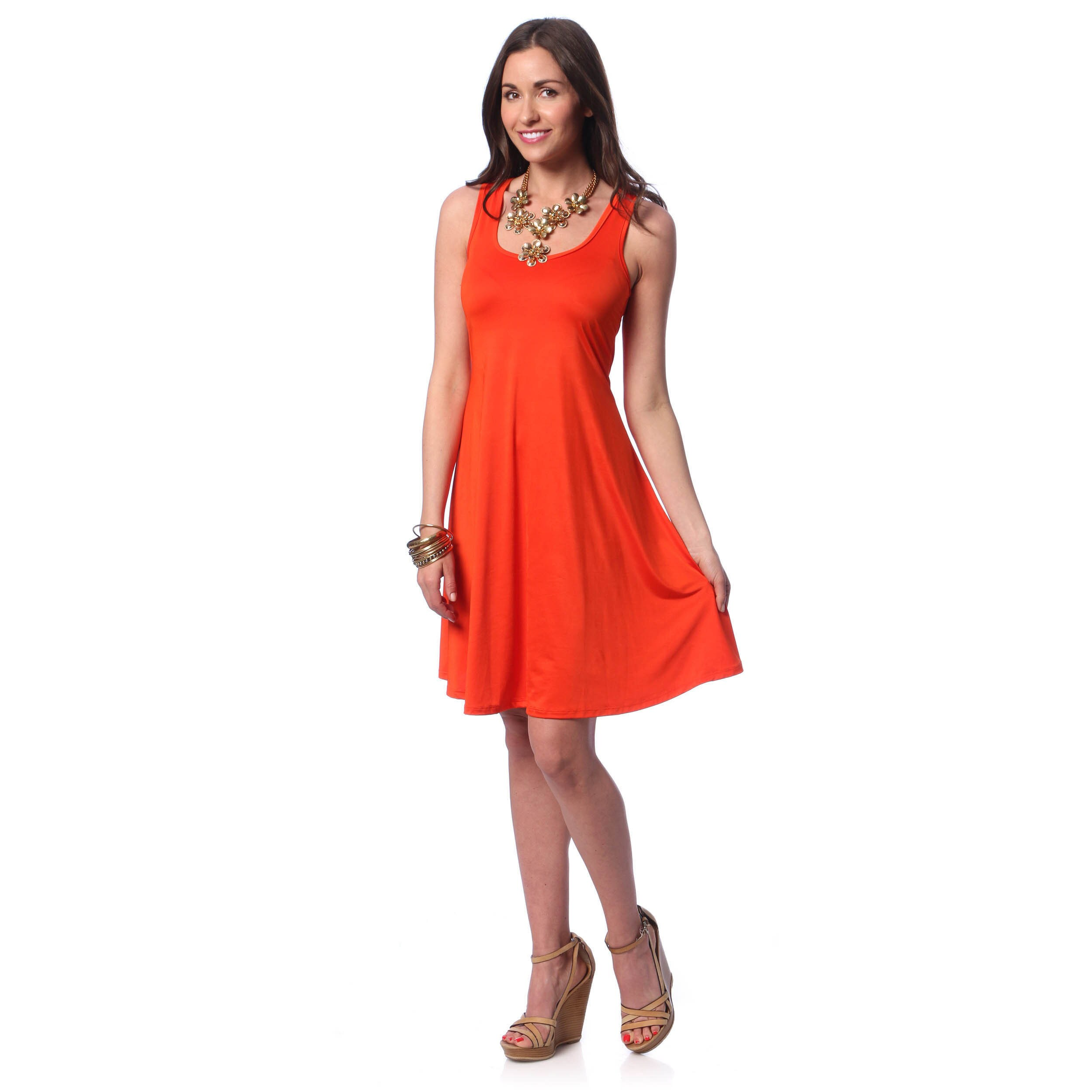 177c8302f1 Shop 24/7 Comfort Apparel Women's Solid Sleeveless Tank Dress - On ...