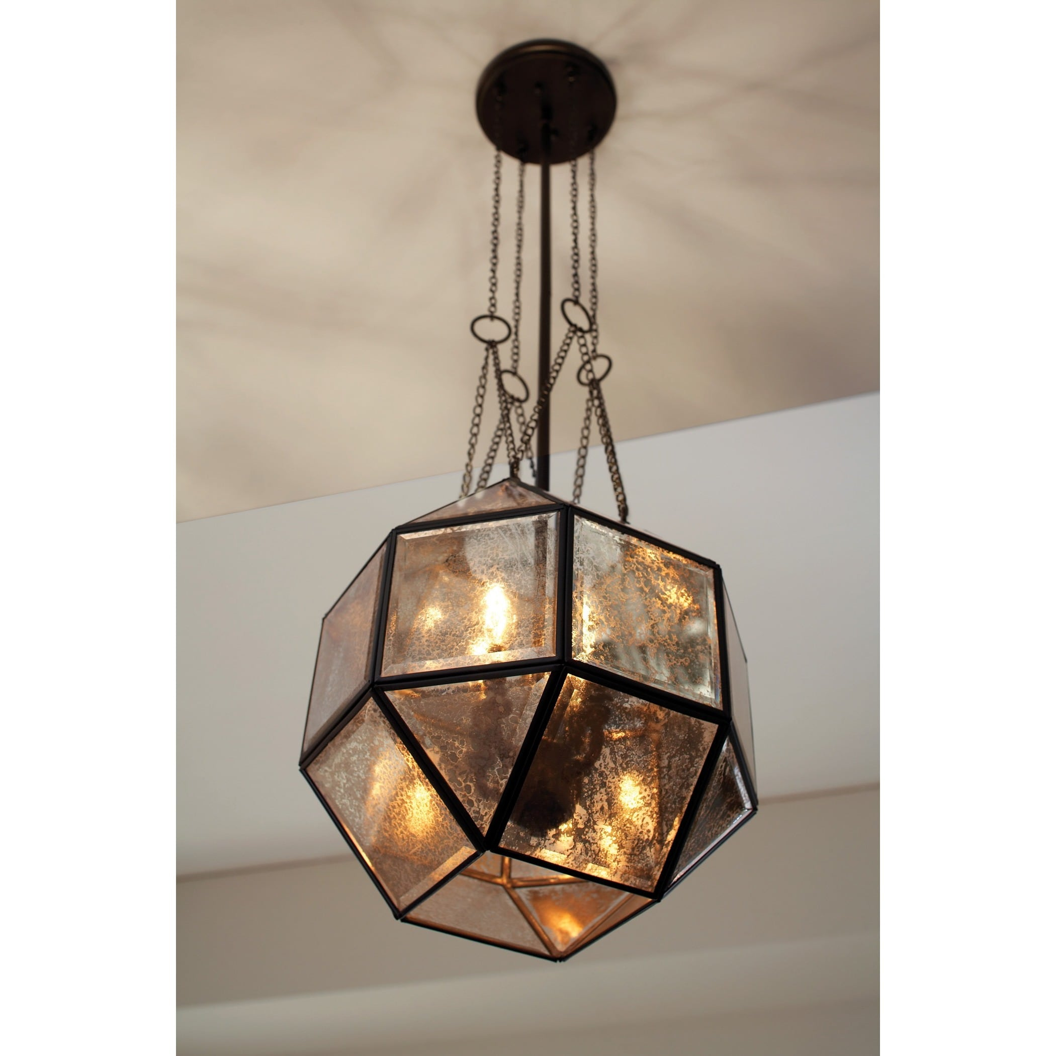 Lazlo 4 light Mercury Glass Heirloom Bronze Pendant Free