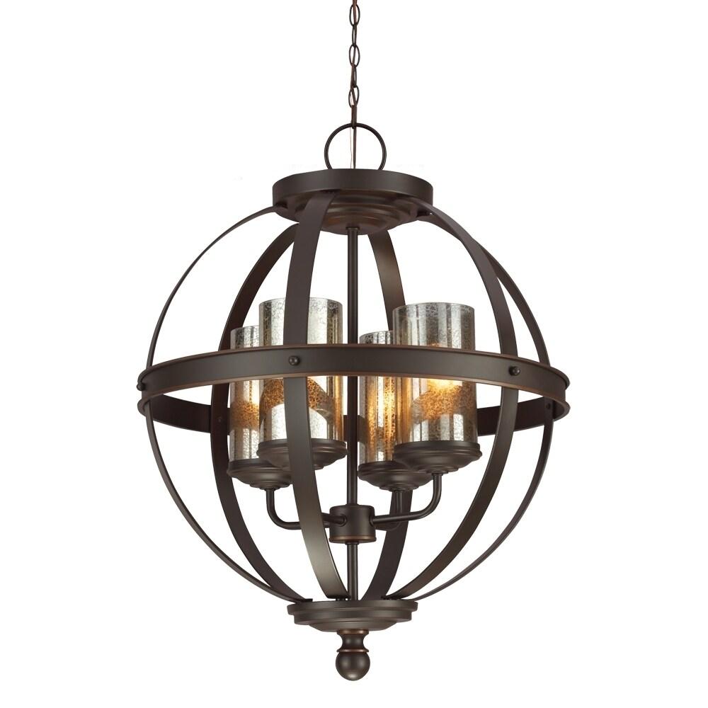Sfera 4 light autumn bronze mercury glass chandelier