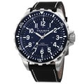 Akribos XXIV Men's Swiss Quartz Rotating Bezel Leather Blue Strap Watch