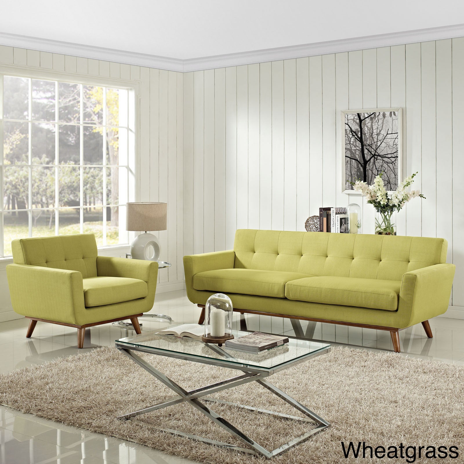 Engage 2 Piece Tufted Armchair And Sofa Set   Free Shipping Today    Overstock.com   16147998