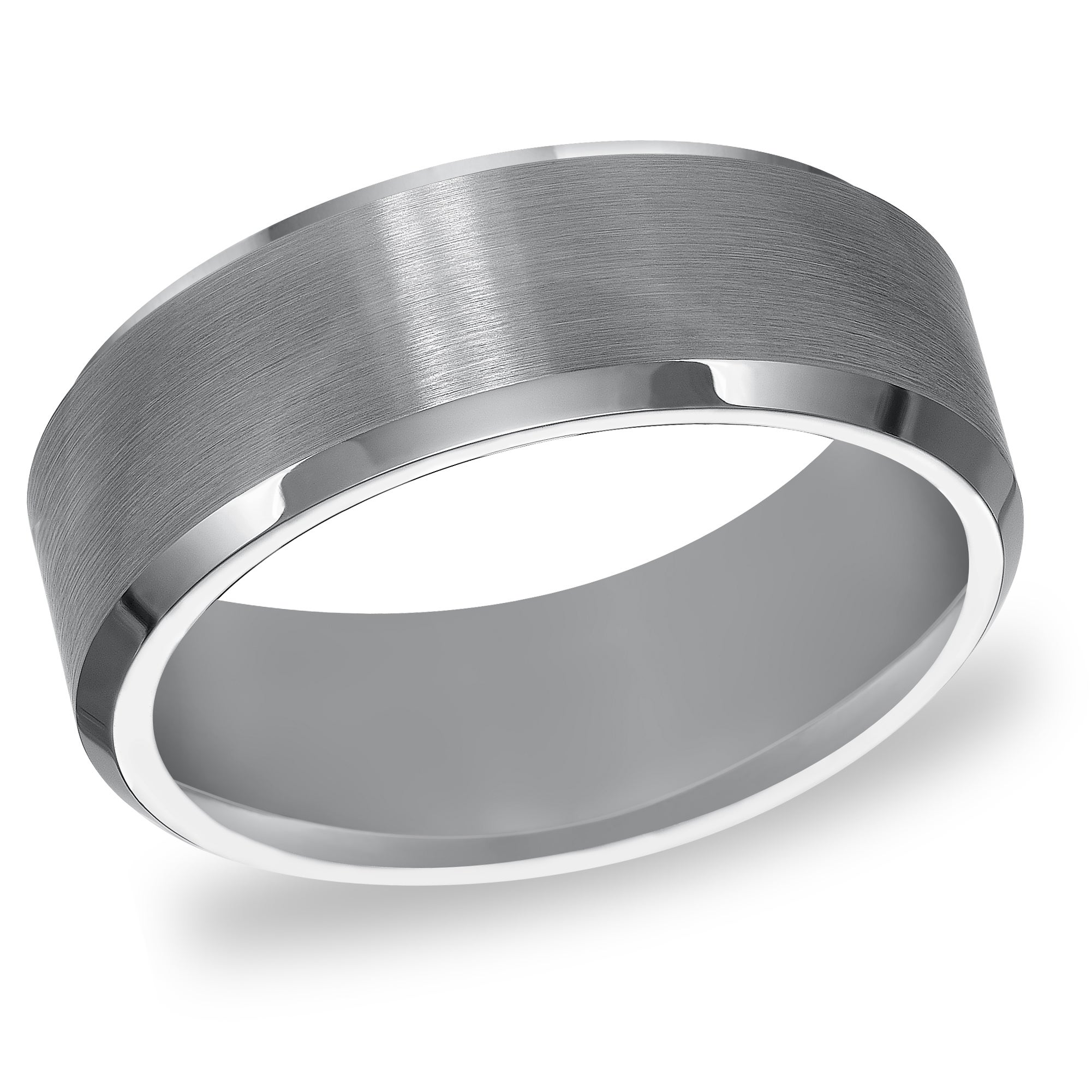 sheffield with thorsten ring white tungsten center brushed beveled carbide rings